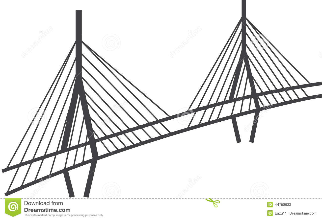 cable-stayed bridge drawing  millau viaduct  france stock illustration