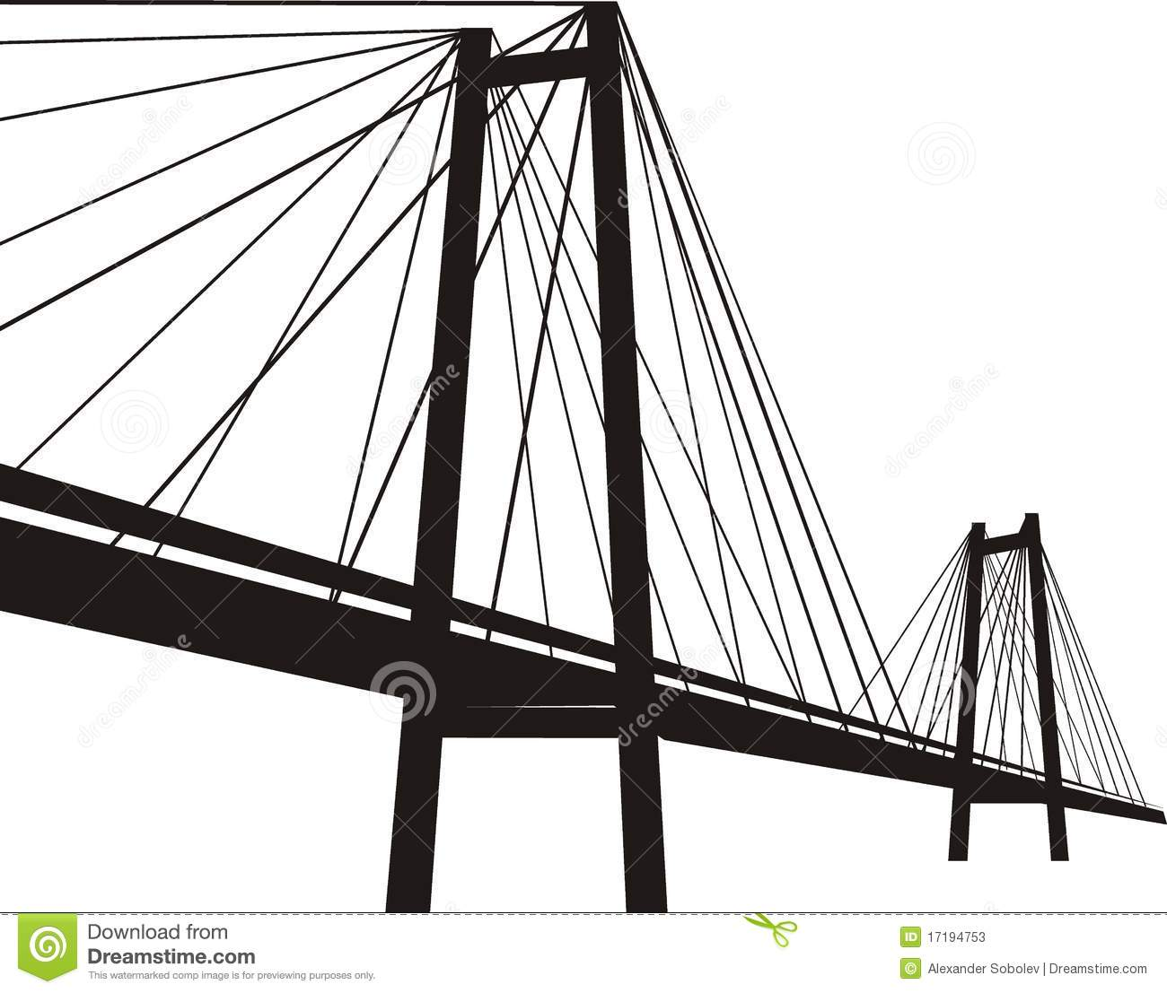 cable-stayed suspension bridge stock vector