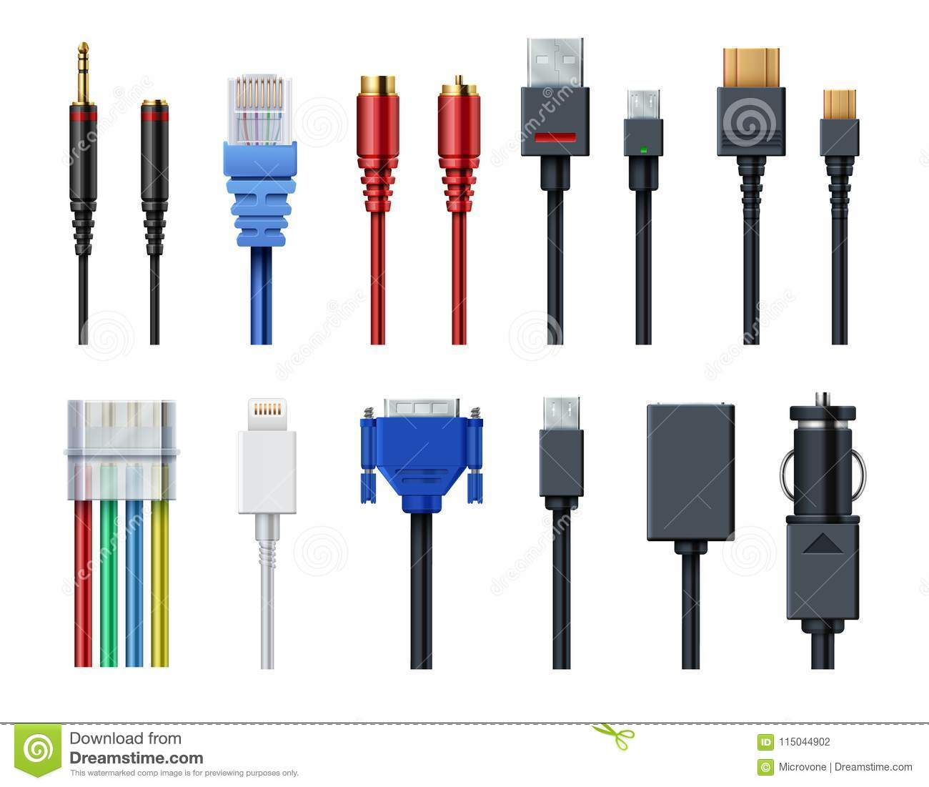 Cable wire computer video, audio, usb, hdmi, network and electric conectors and plugs vector set isolated