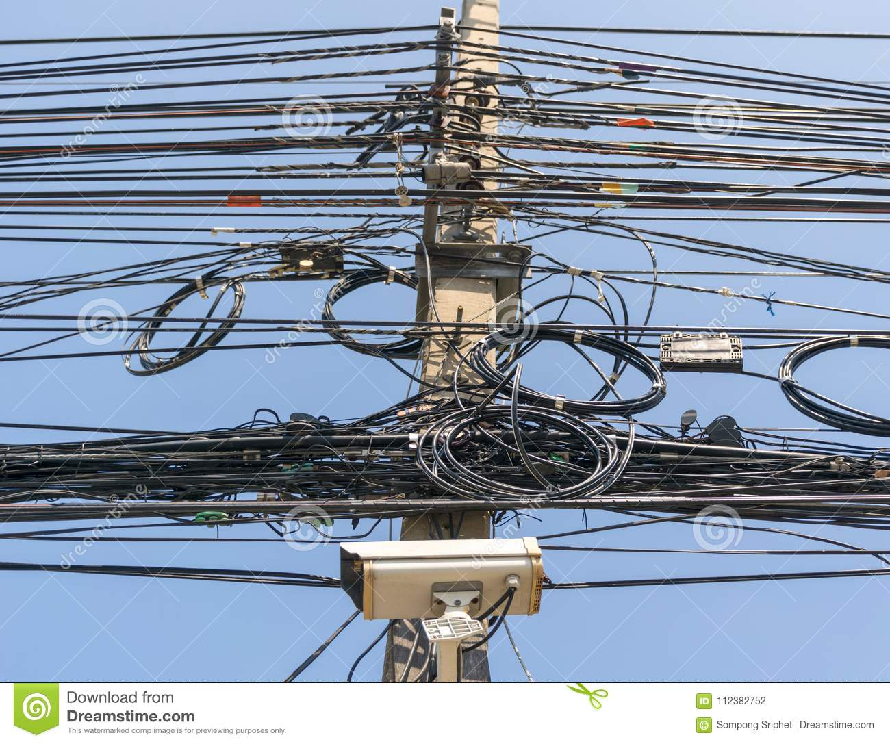 Cable Wire Telephone Line On The Power Poles Stock Photo Image Of Connection Wiring