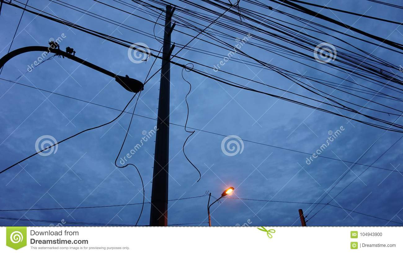 Cable Wires Crossing In The Sky Stock Photo - Image of electrical ...