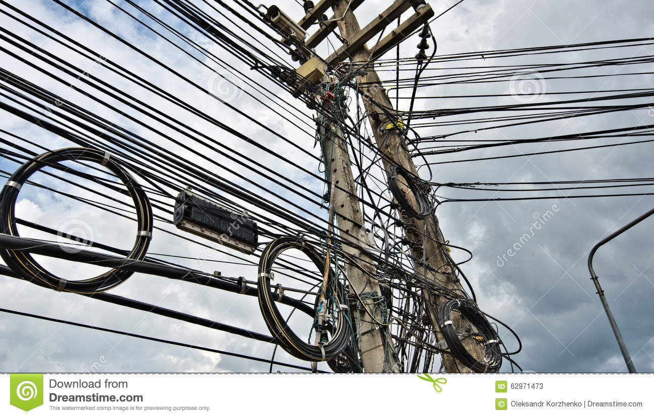 Cable And Wires Of Urban Energy Supply Grid Stock Image - Image of ...