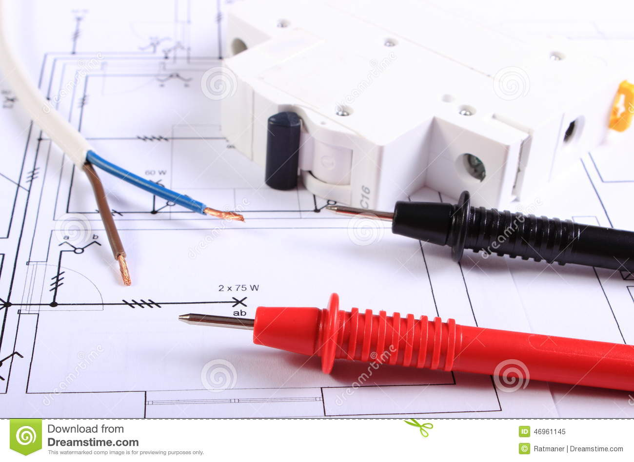 cables of multimeter electric wire and fuse on drawing. Black Bedroom Furniture Sets. Home Design Ideas