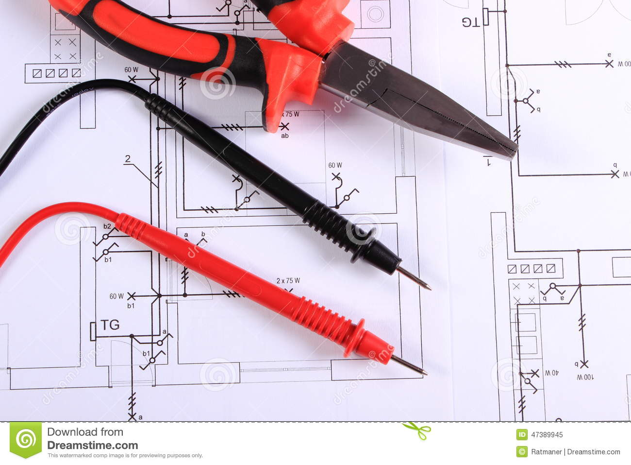 Cables Of Multimeter And Work Tool On Construction Drawing Stock Electrical House Metal Pliers Lying Drawings Tools For Engineer Jobs