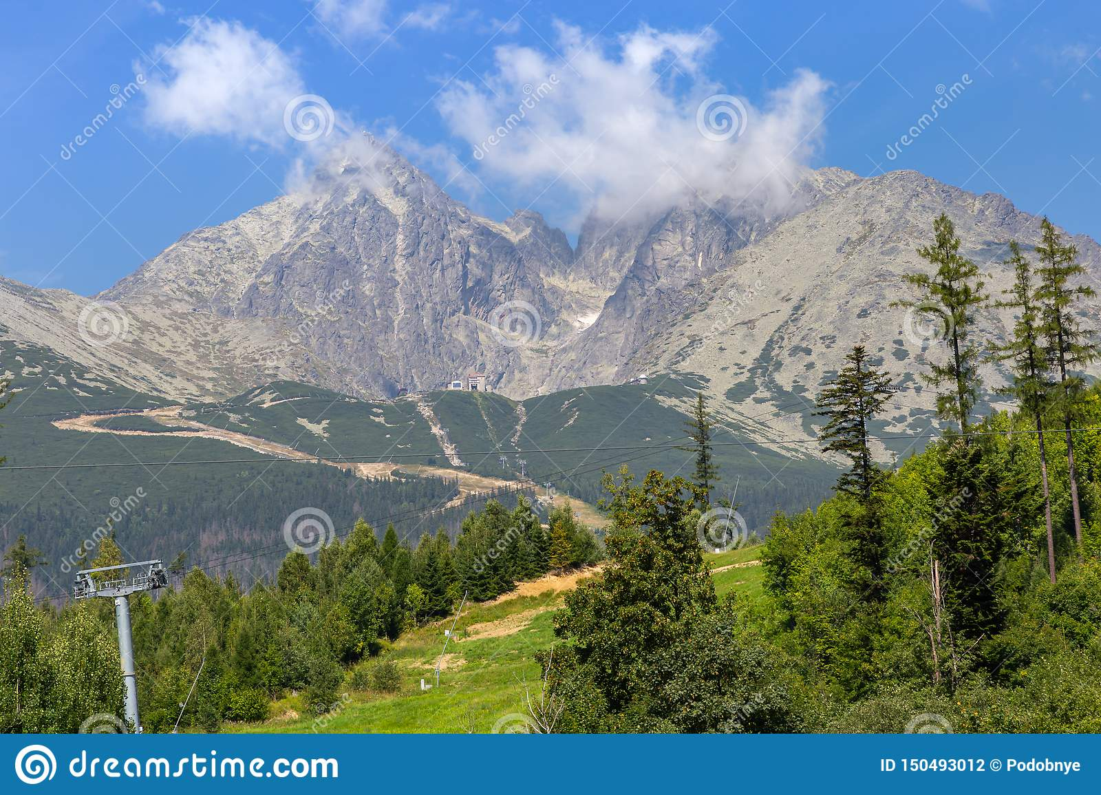 Cableway way to mountains in national park, Slovakia