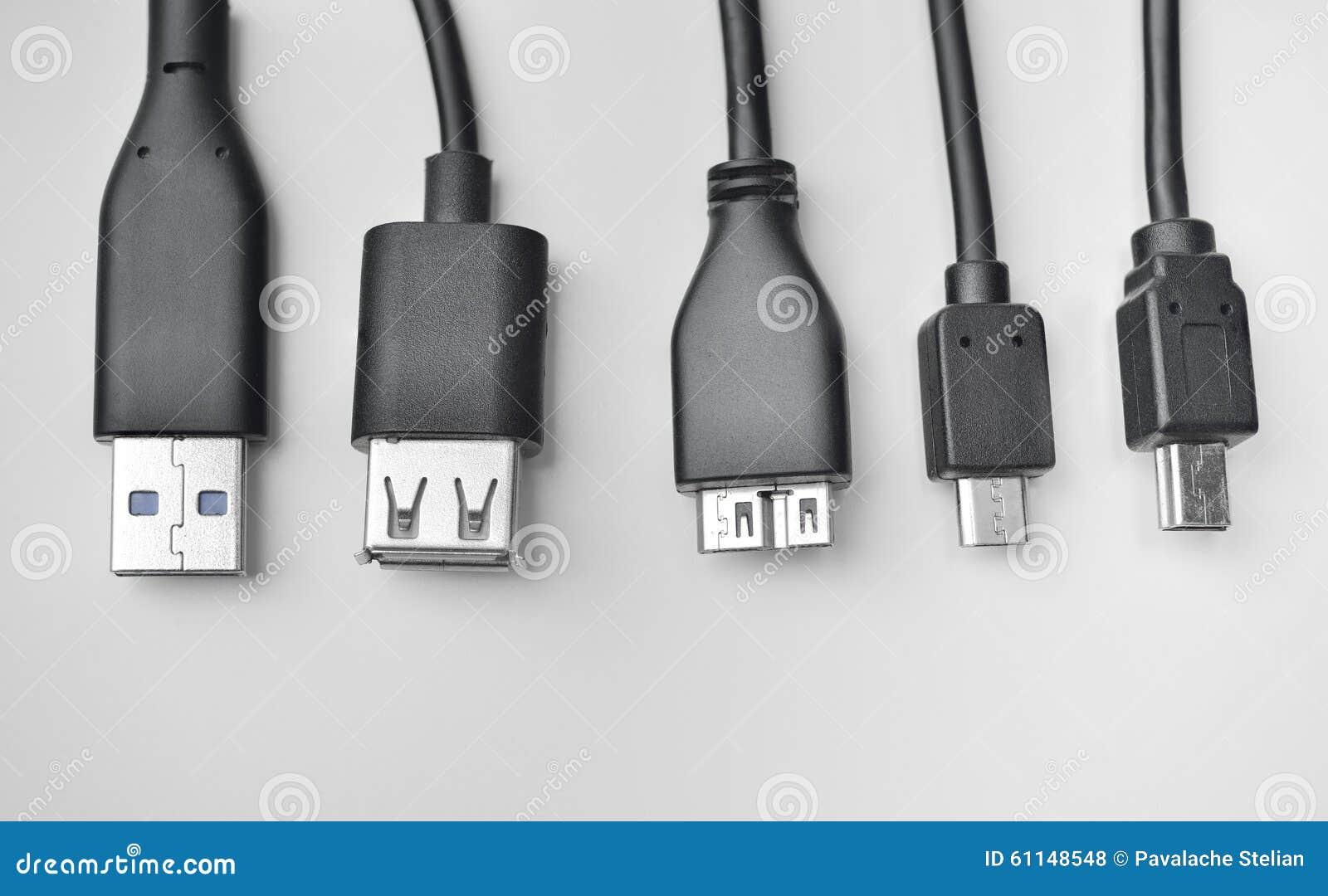 Cabo De USB, De Mini-USB E De Micro-USB Foto de Stock