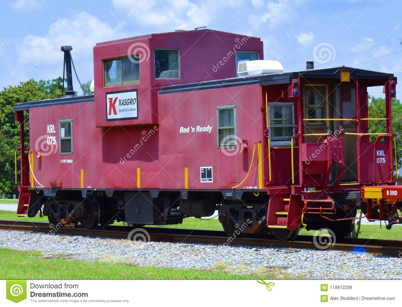 Caboose At End Of A Special Purpose Train Editorial Photo