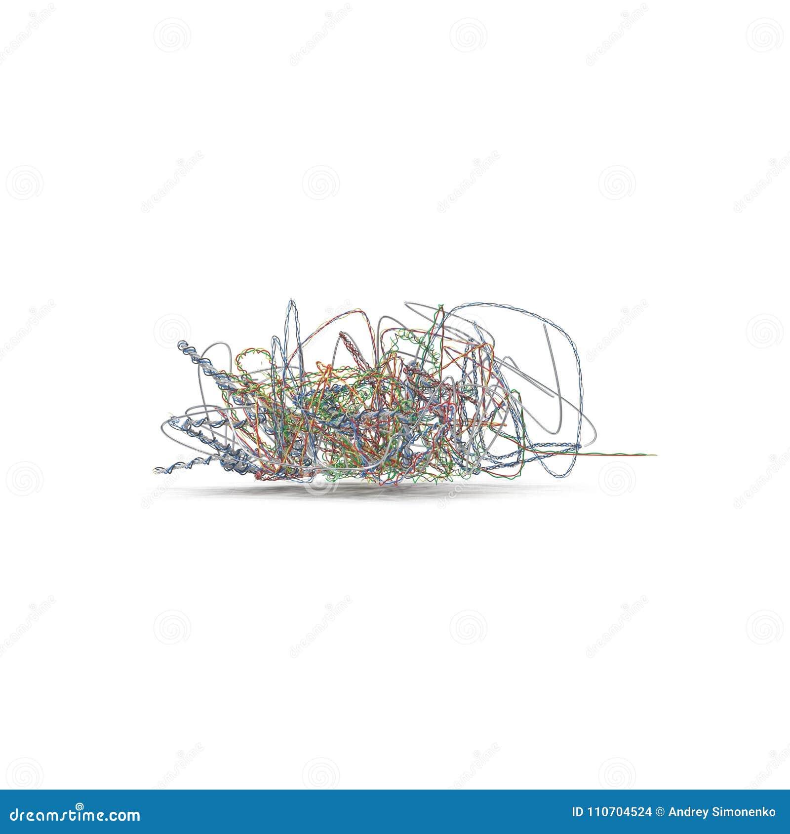 Cabos bondes velhos durante a demolição Tangled sobre no branco ilustração 3D