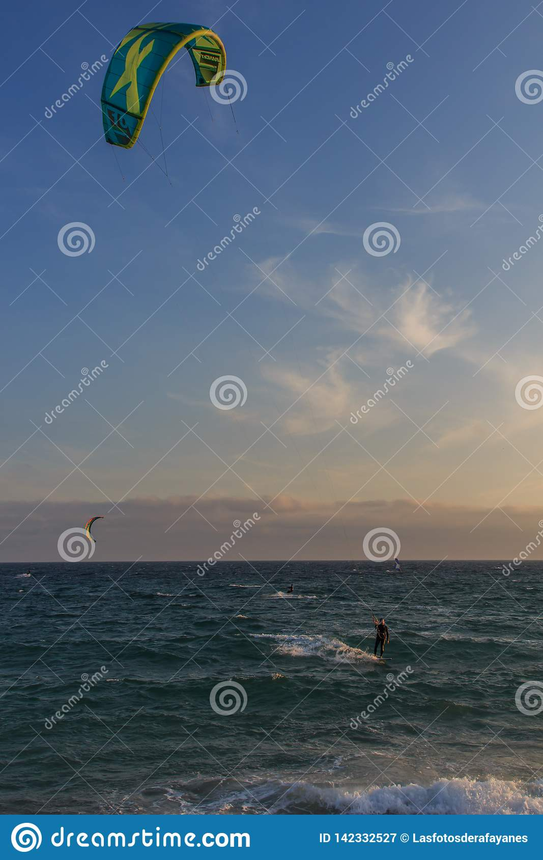Cabrera de Mar,Barcelona/Spain; 02 08 2019: A good afternoon to practice Windsurfing and Kitesurfing Flysurf at Cabrera beach at