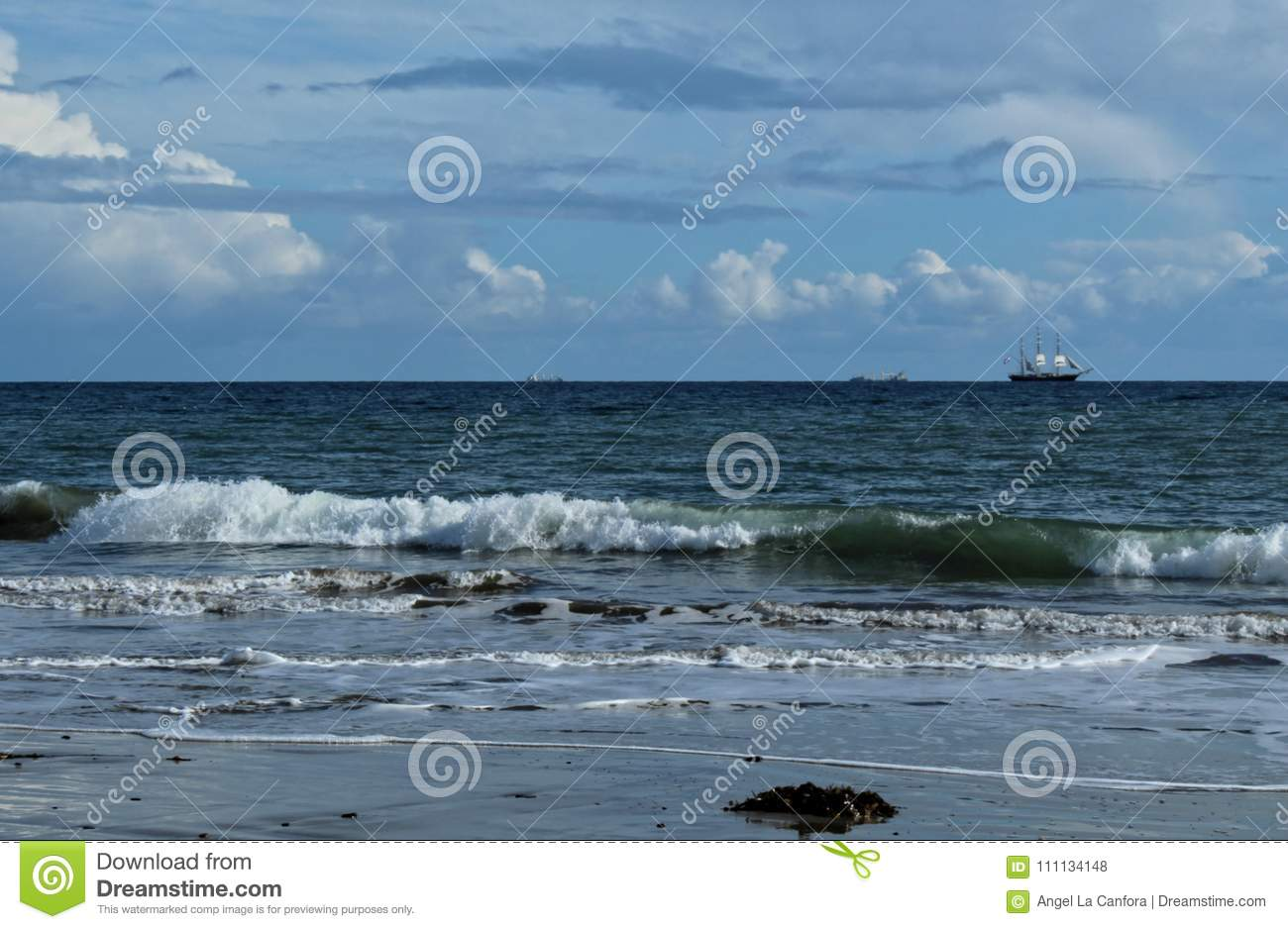 Cabrillo Beach, View of Tall Ship Sailing in the Distance, Los Angeles, California