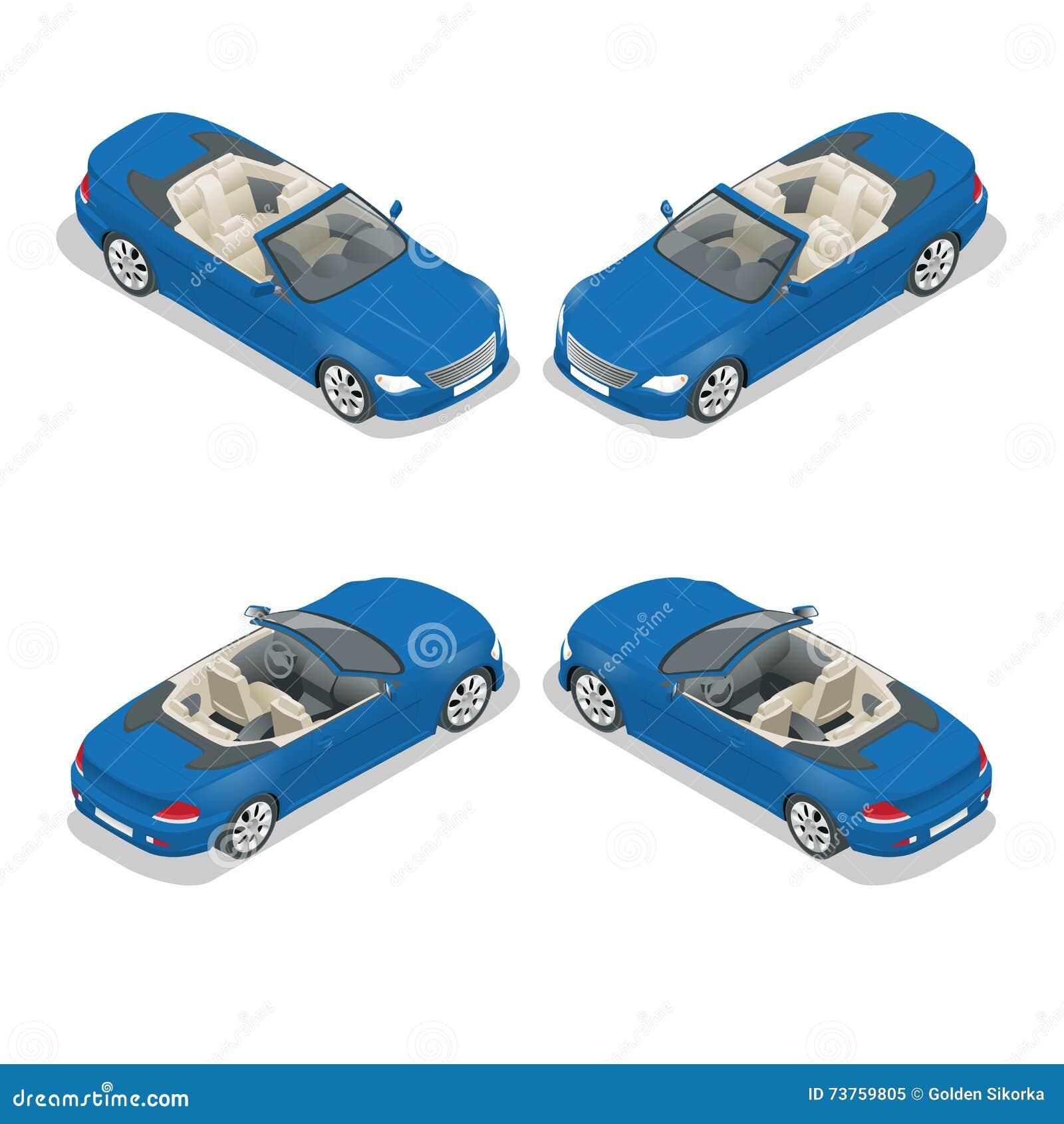 Cabriolet auto isometrische vectorillustratie Vlak 3d convertibel beeld