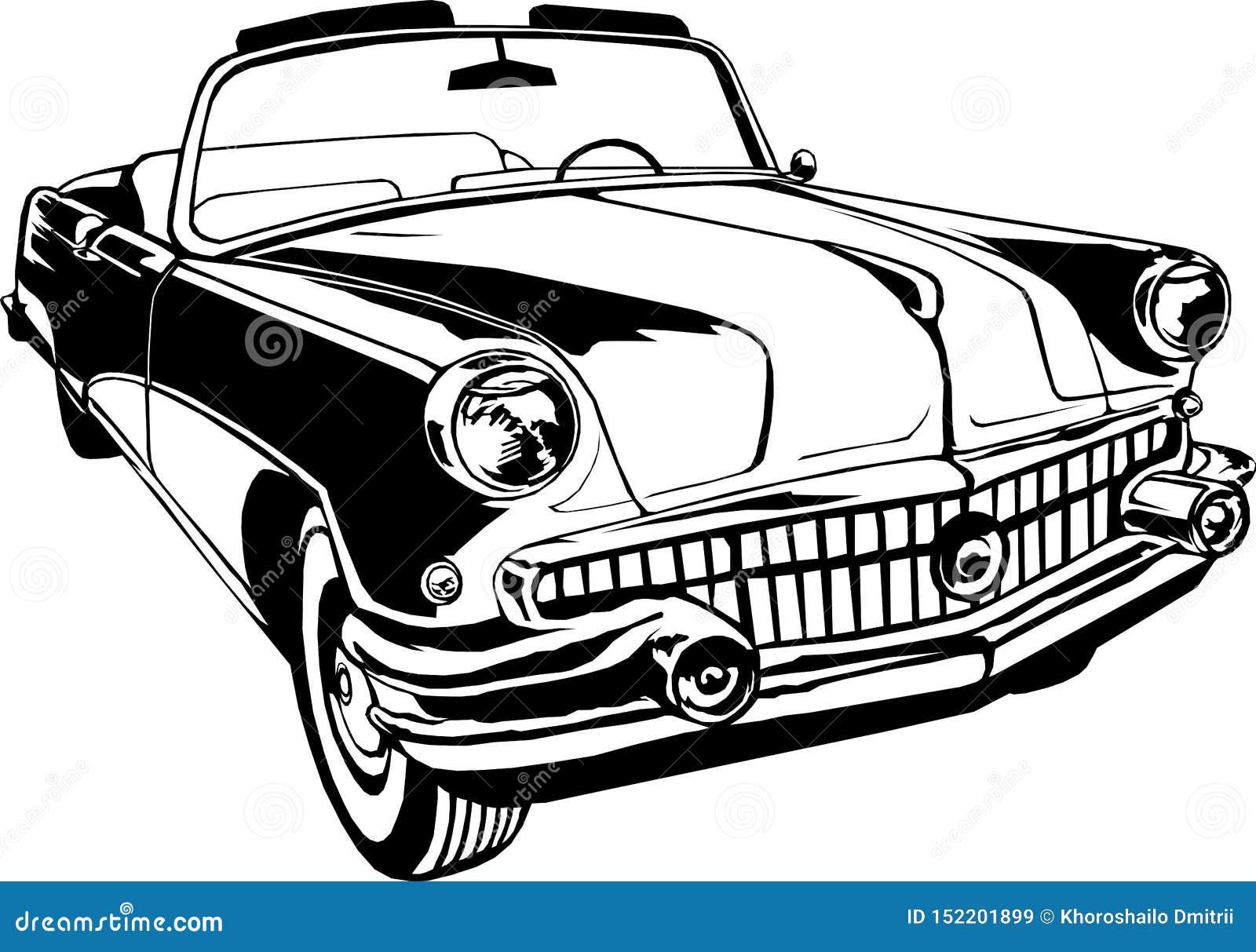 Cabriolet 1950-60s retro vintage vector monogram hand drawing black