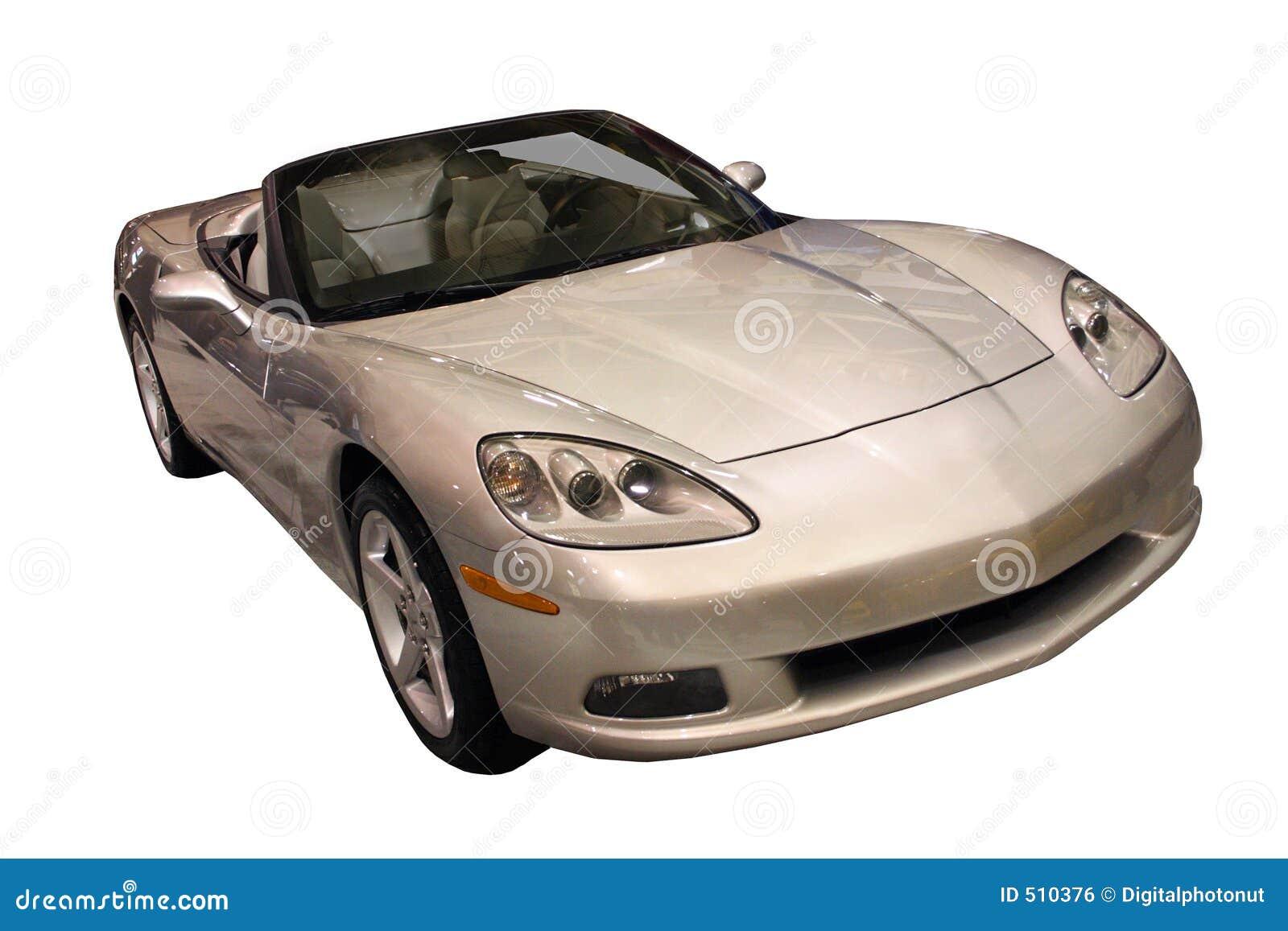 Cabriolet som isoleras över sportig white för silver