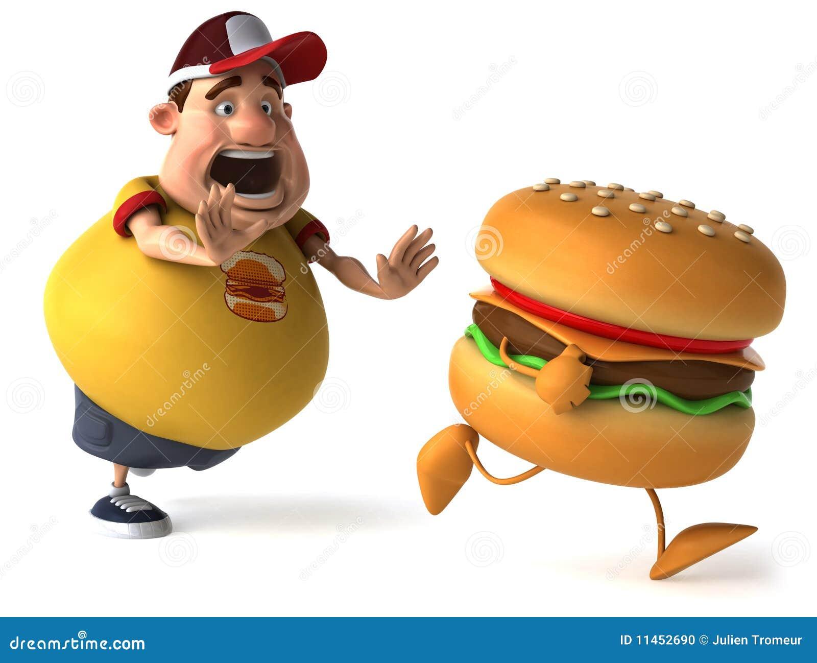 Foto de archivo: Cabrito y hamburguesa gordos