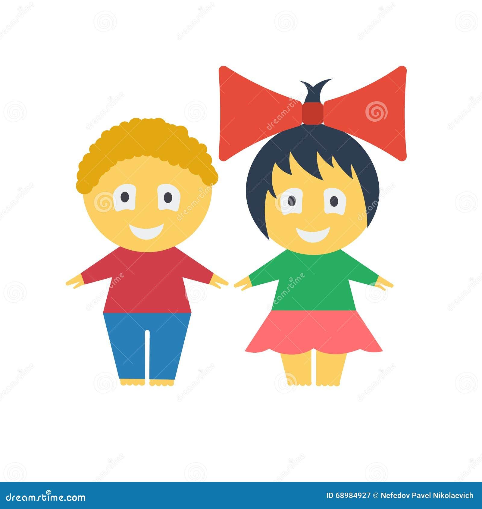 Cabritos lindos Muchacho y muchacha de la historieta Muchacho rizado-cabelludo castaño Muchacha alegre con un arco rojo