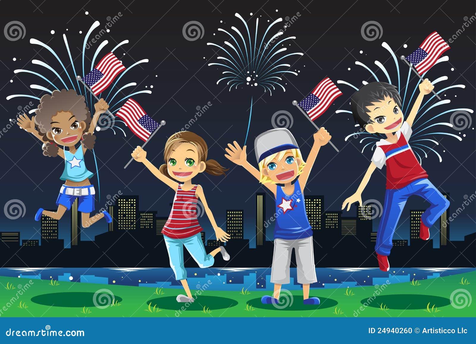 Cabritos que celebran el cuarto de julio ilustraci n del for Cuarto kit del america