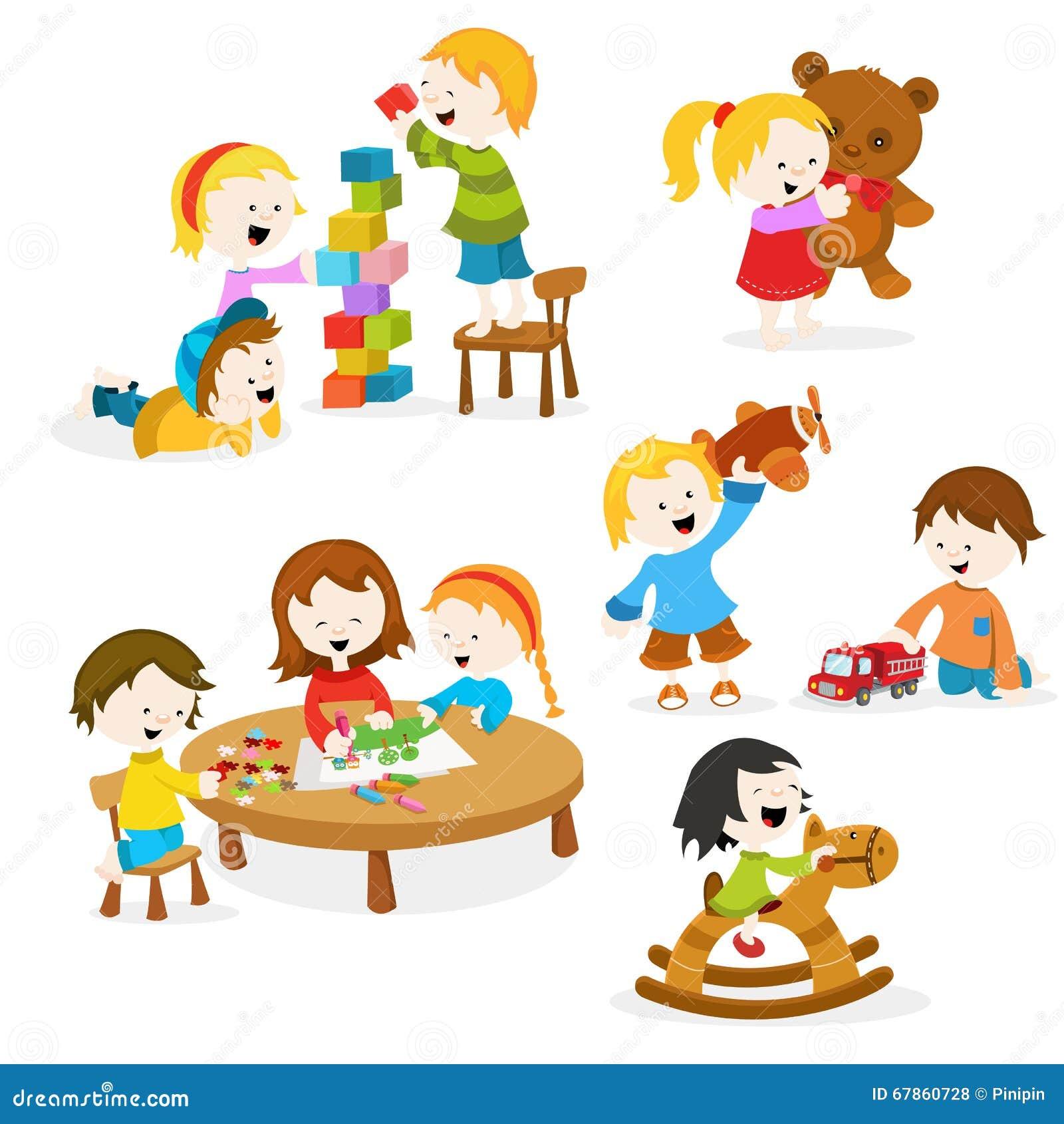 Cabritos que juegan con los juguetes
