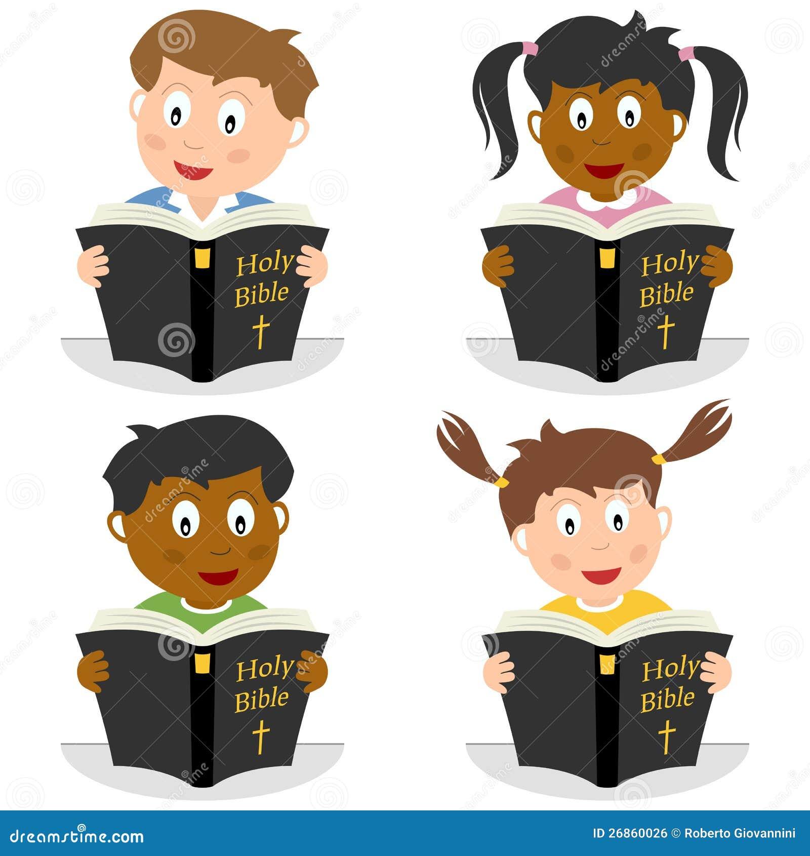 Cabritos que leen la biblia santa