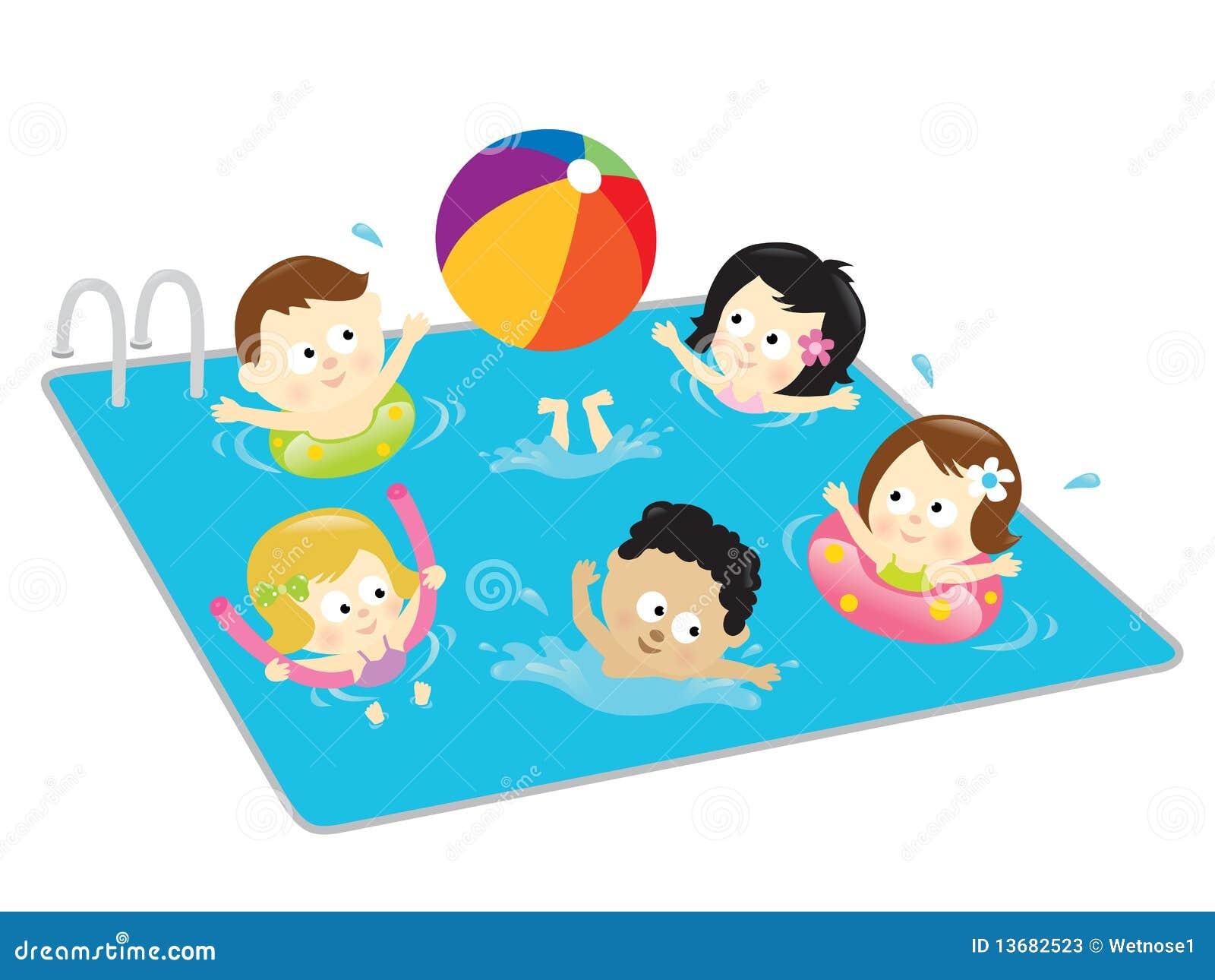 Cabritos que se divierten en la piscina