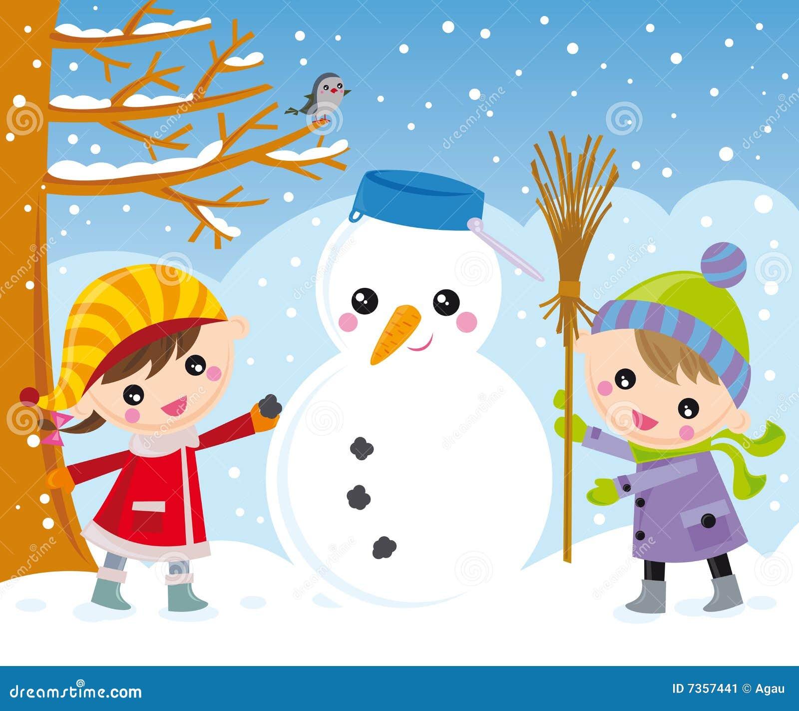 Cabritos y muñeco de nieve