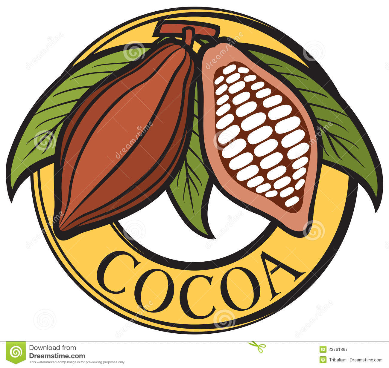 Cocoa Beans Label Stock Vector. Illustration Of