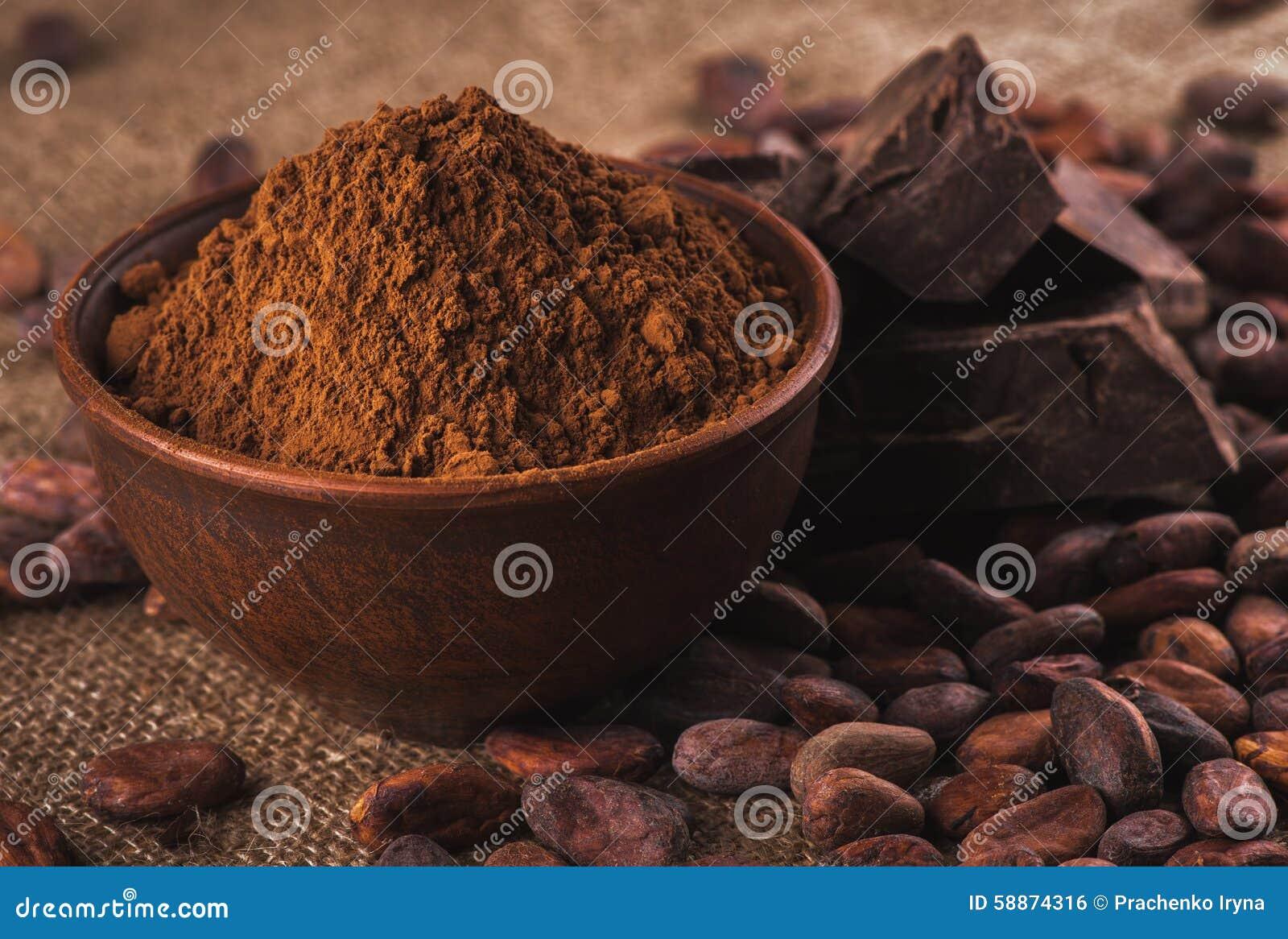 Cacao in polvere in una ciotola ceramica marrone, fave di cacao crude nella pipi