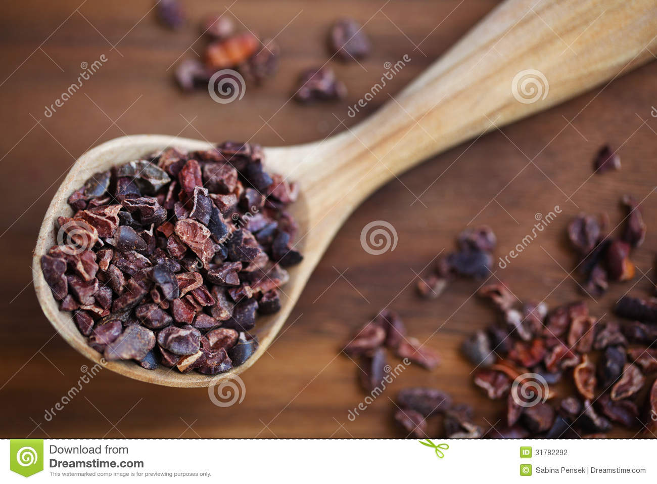 Cacao raw bean nibs or cocoa crushed