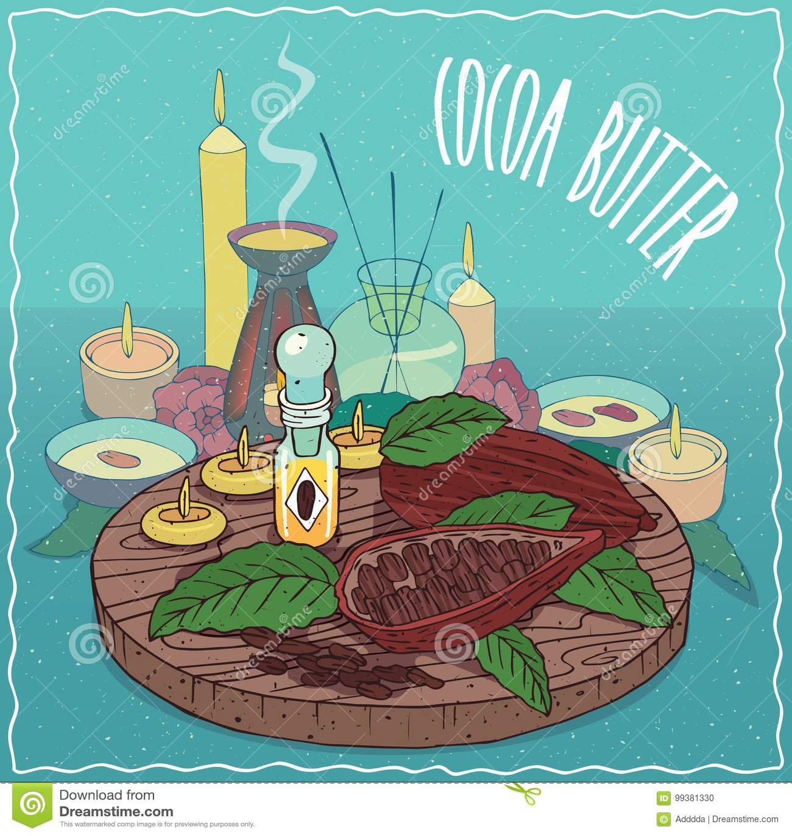 Cacaoboterolie voor aromatherapy wordt gebruikt die