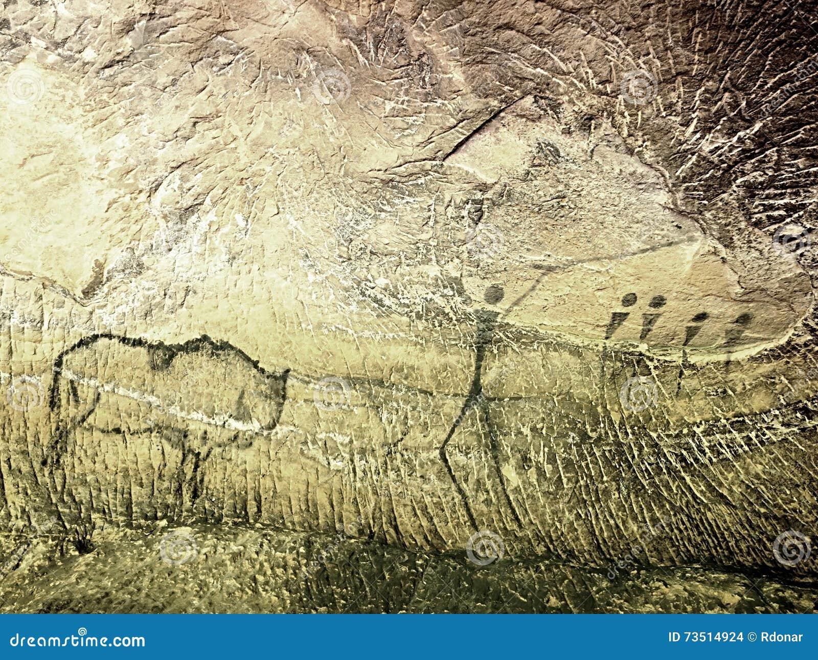 Caccia della buffalo pittura di caccia umana sulla parete for Piani di caverna dell uomo