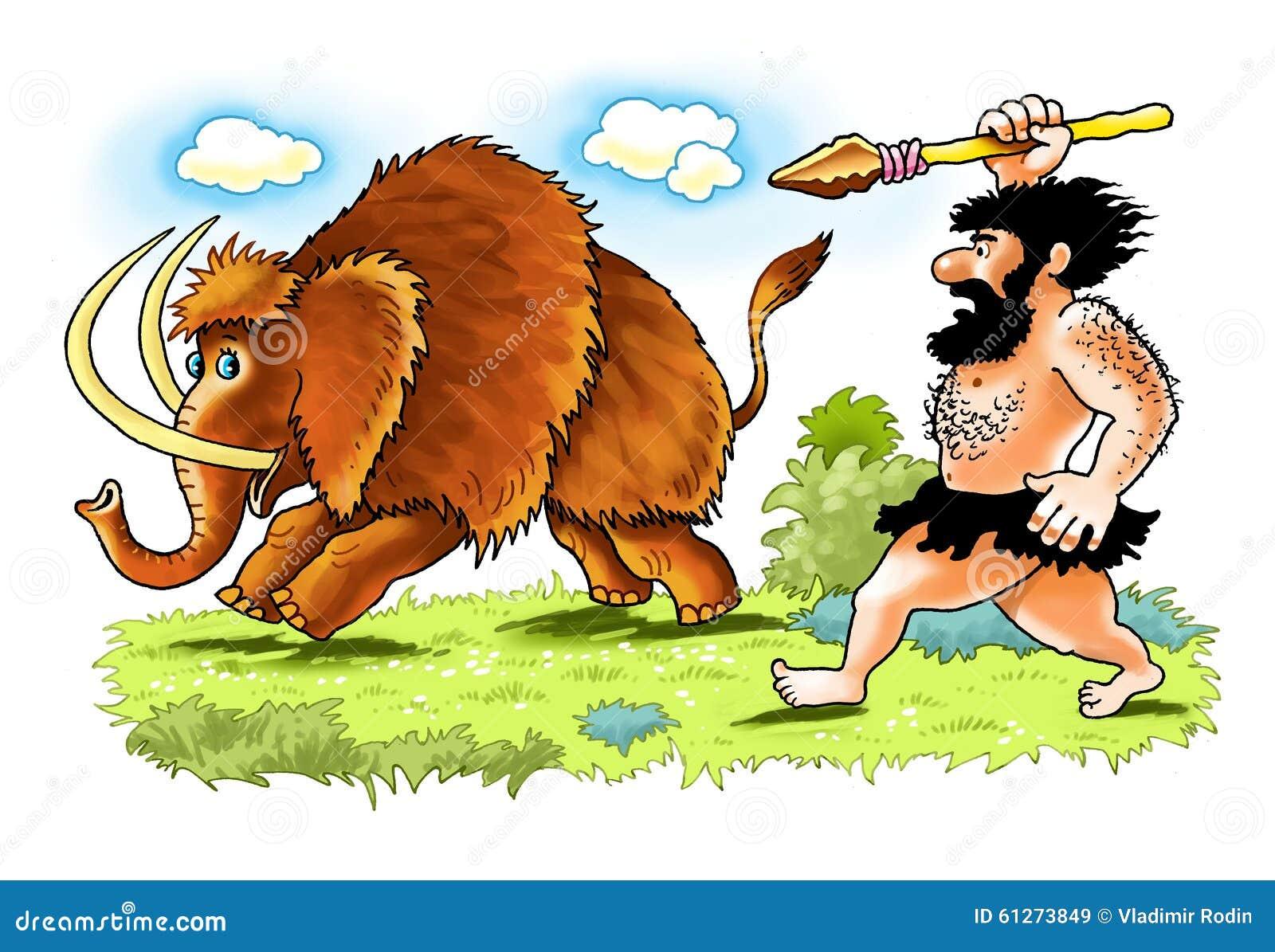 Caccia mastodontica della lancia della persona primitiva for Planimetrie della caverna dell uomo