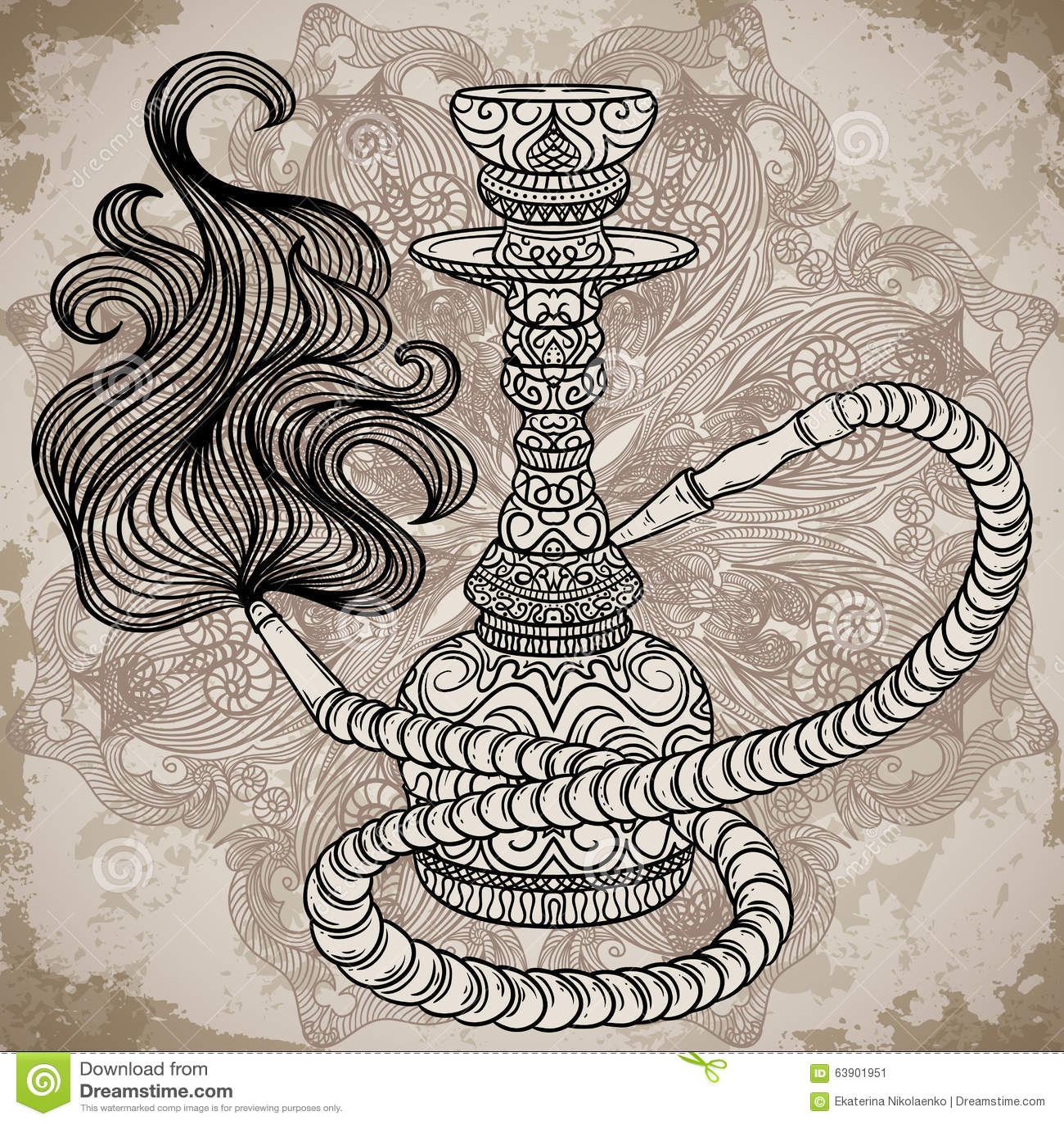 Cachimbo de água com ornamento oriental e fumo sobre a mandala ornamentado no fundo de papel envelhecido