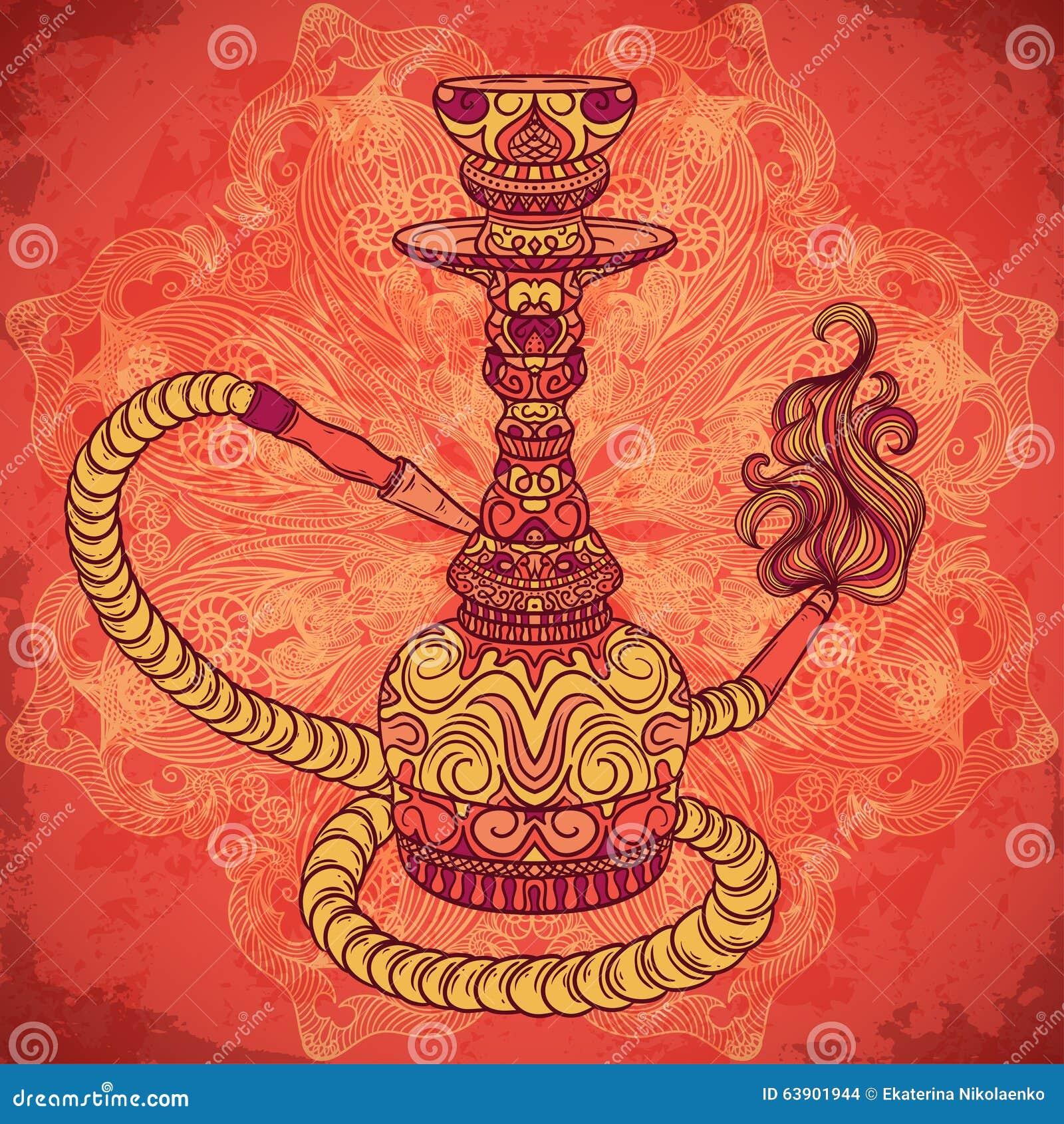Cachimbo de água com ornamento oriental e fumo sobre o teste padrão redondo da mandala ornamentado