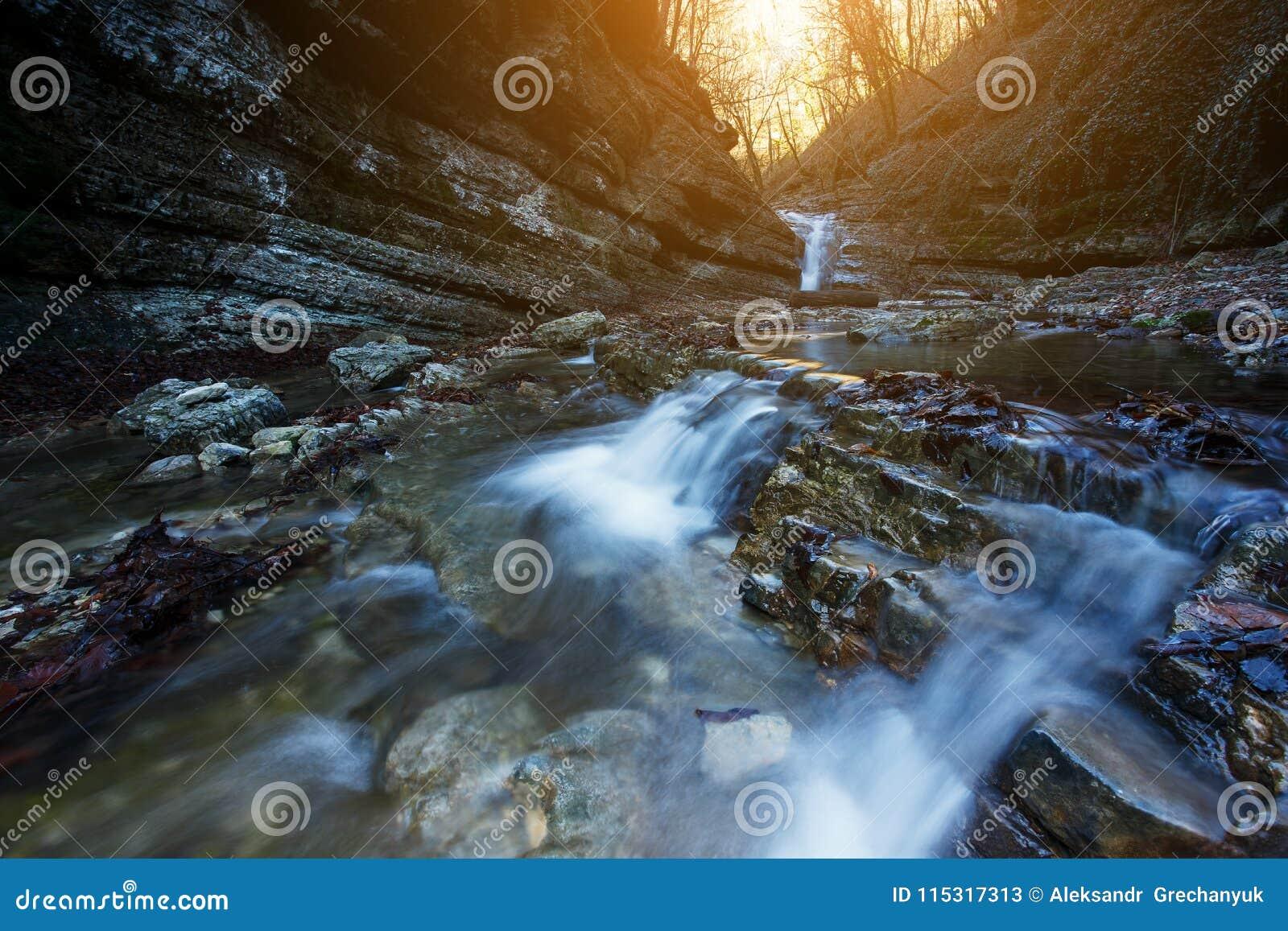 A cachoeira bonita no rio da montanha na floresta colorida do outono com vermelho e a laranja sae no por do sol Paisagem da natur