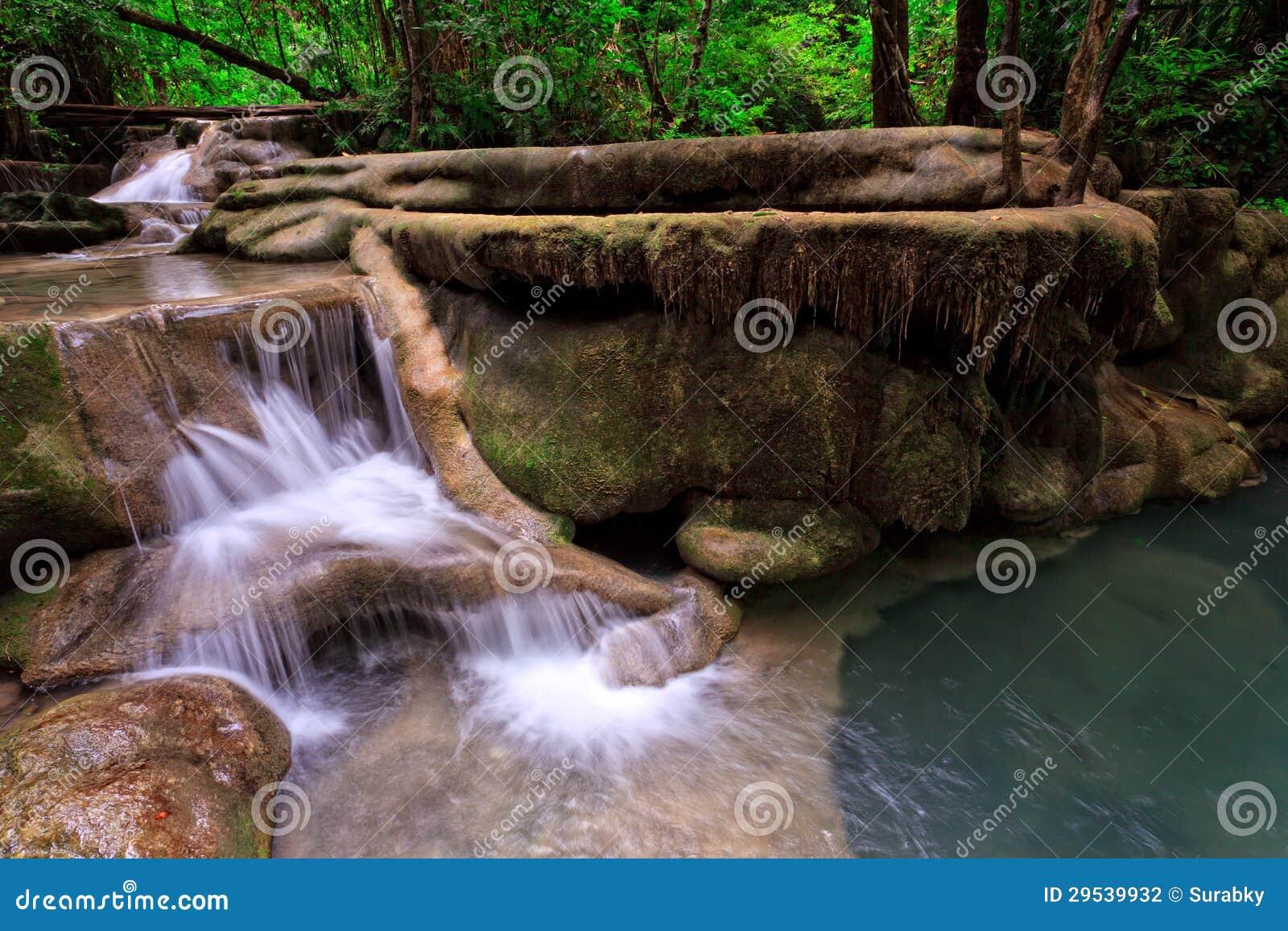 Cachoeira da pedra calcária na floresta tropical