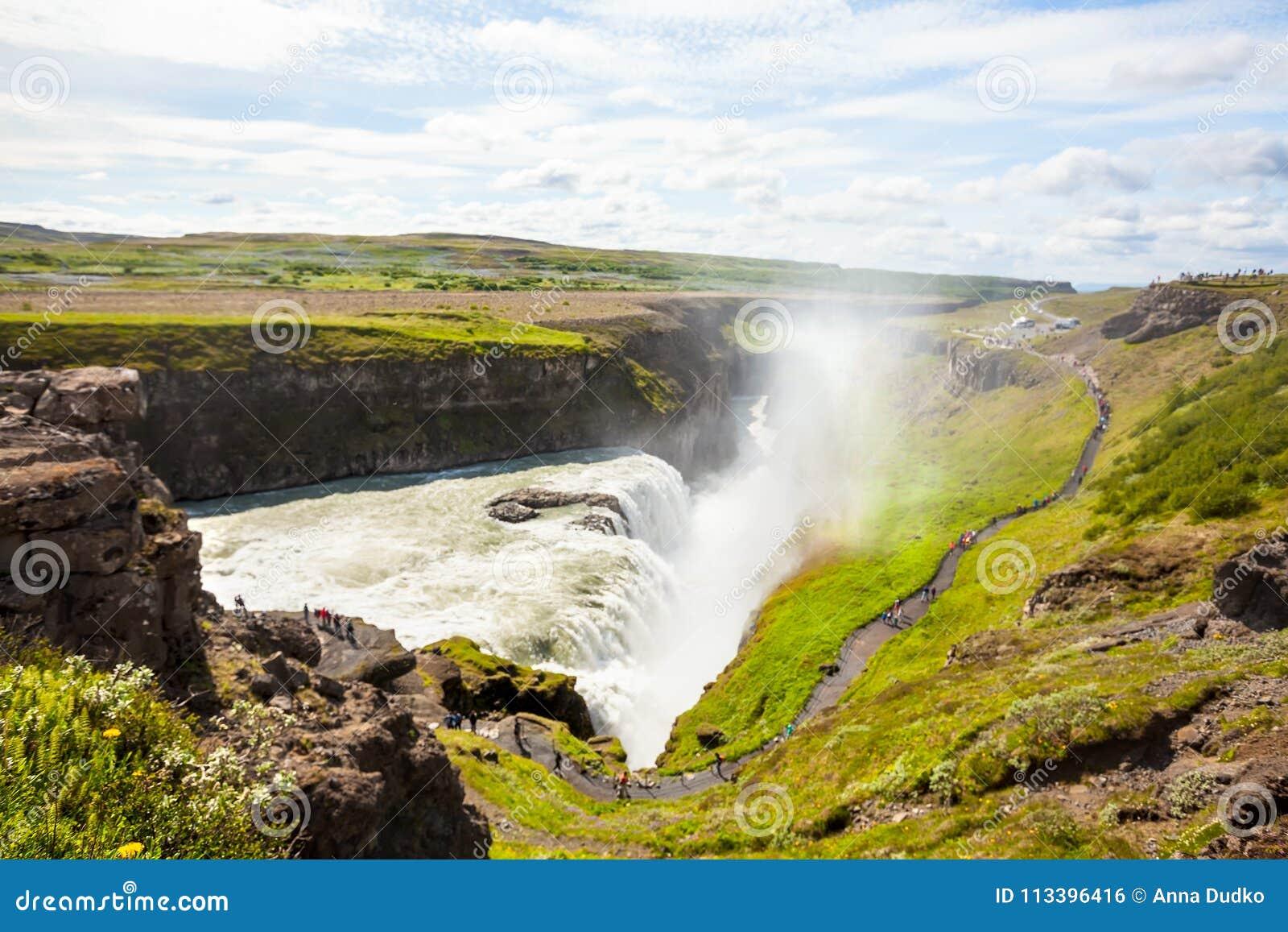 Cachoeira de Gullfoss em Islândia