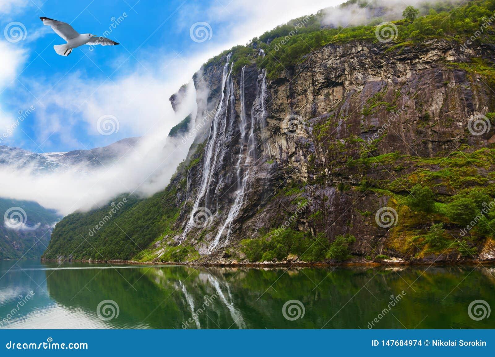 Cachoeira no fiorde Noruega de Geiranger
