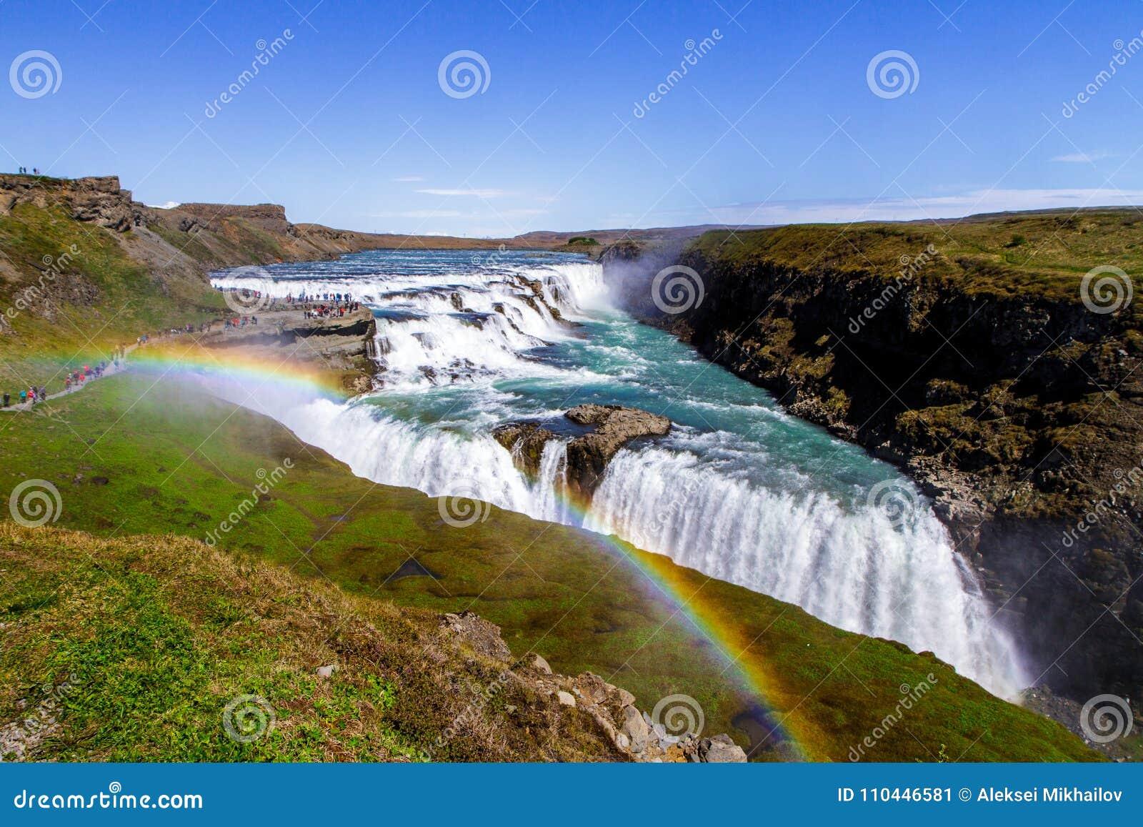 Cachoeira no por do sol, Islândia de Gullfoss, Europa 11 06,2017