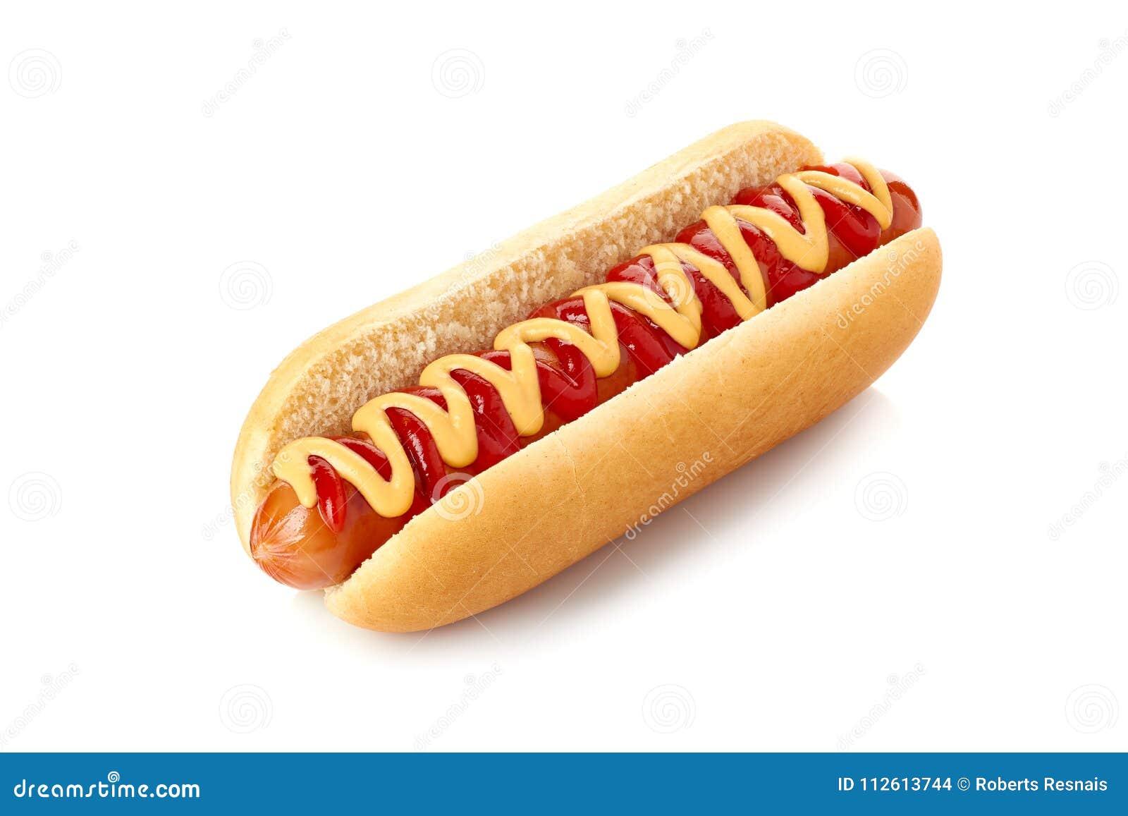 Cachorro quente com ketchup e mostarda no branco