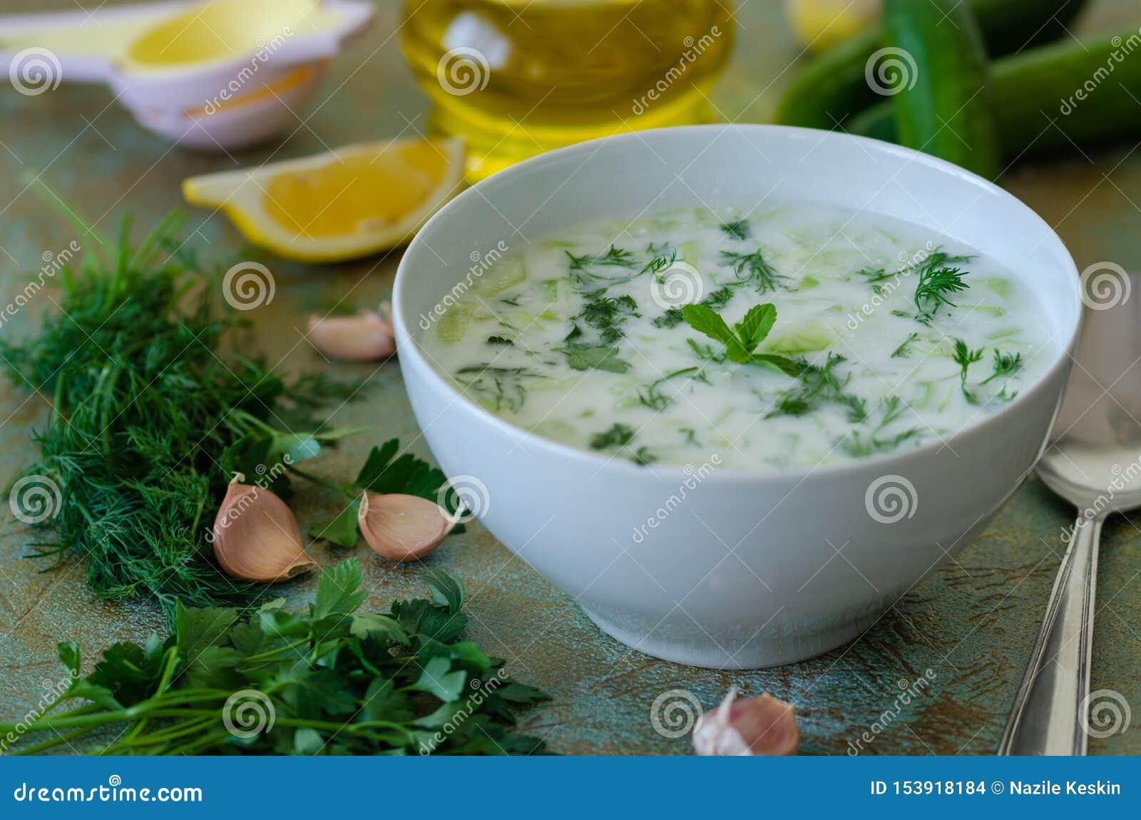 Cacik ou tzatziki turco tradicional da bebida