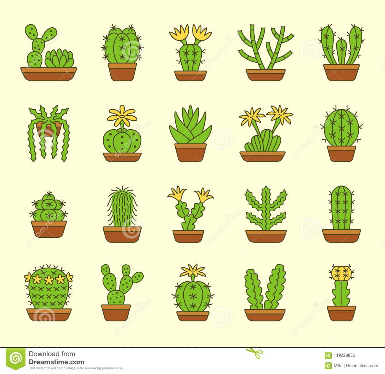 Cacti Desert Plants For Terrariums And Rock Gardens Flat Icon