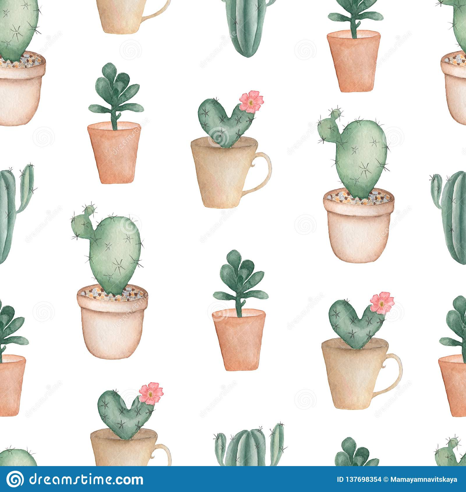 Cacti Flower Background Seamless Pattern With Cactus And Succulents In Pots Hand Drawn Illustration In Trendy Cute Cartoon Style Stock Illustration Illustration Of Blossom Collection 137698354