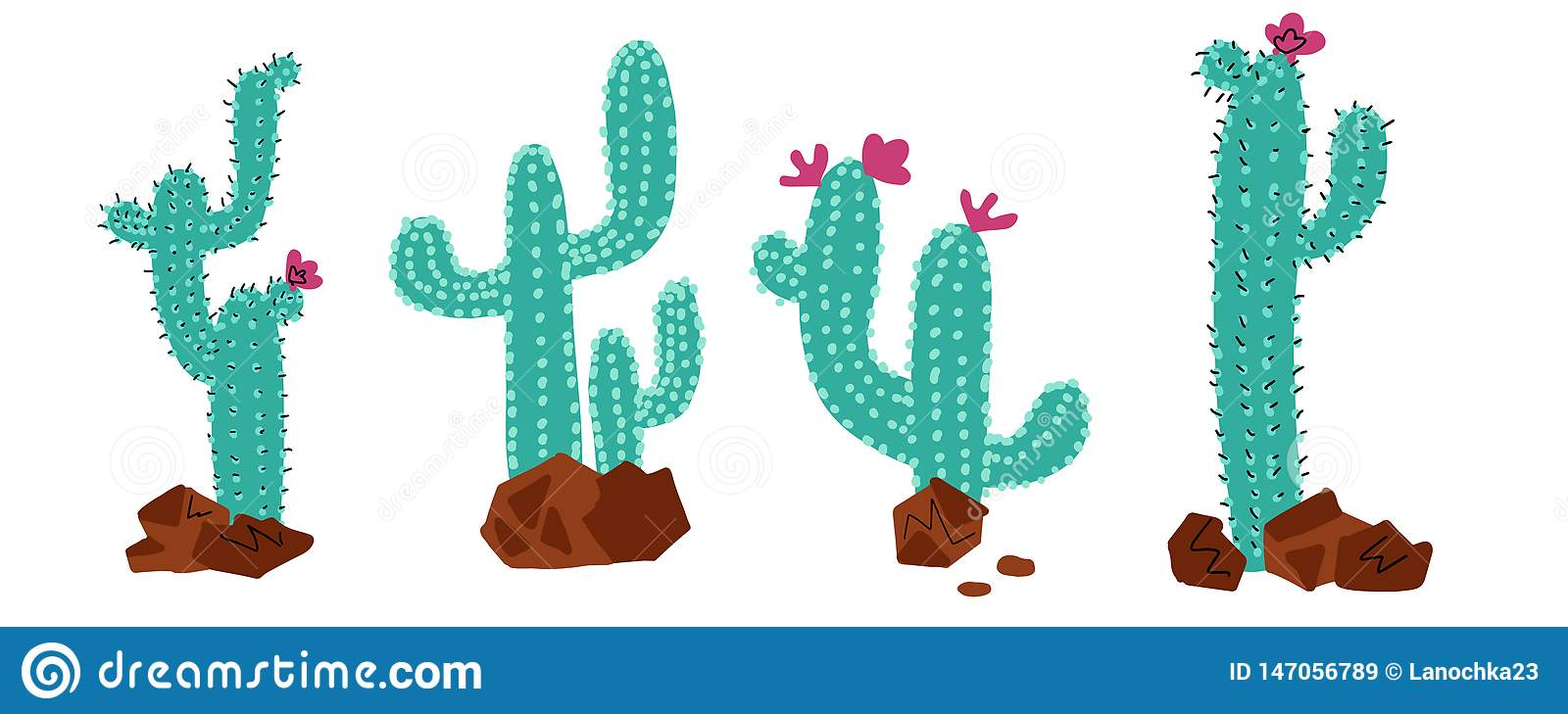 Cactus Collections Set. Cacti plant, vector stipple hand drawn doodle color concept. Wild desert cactuses with flowers and stones
