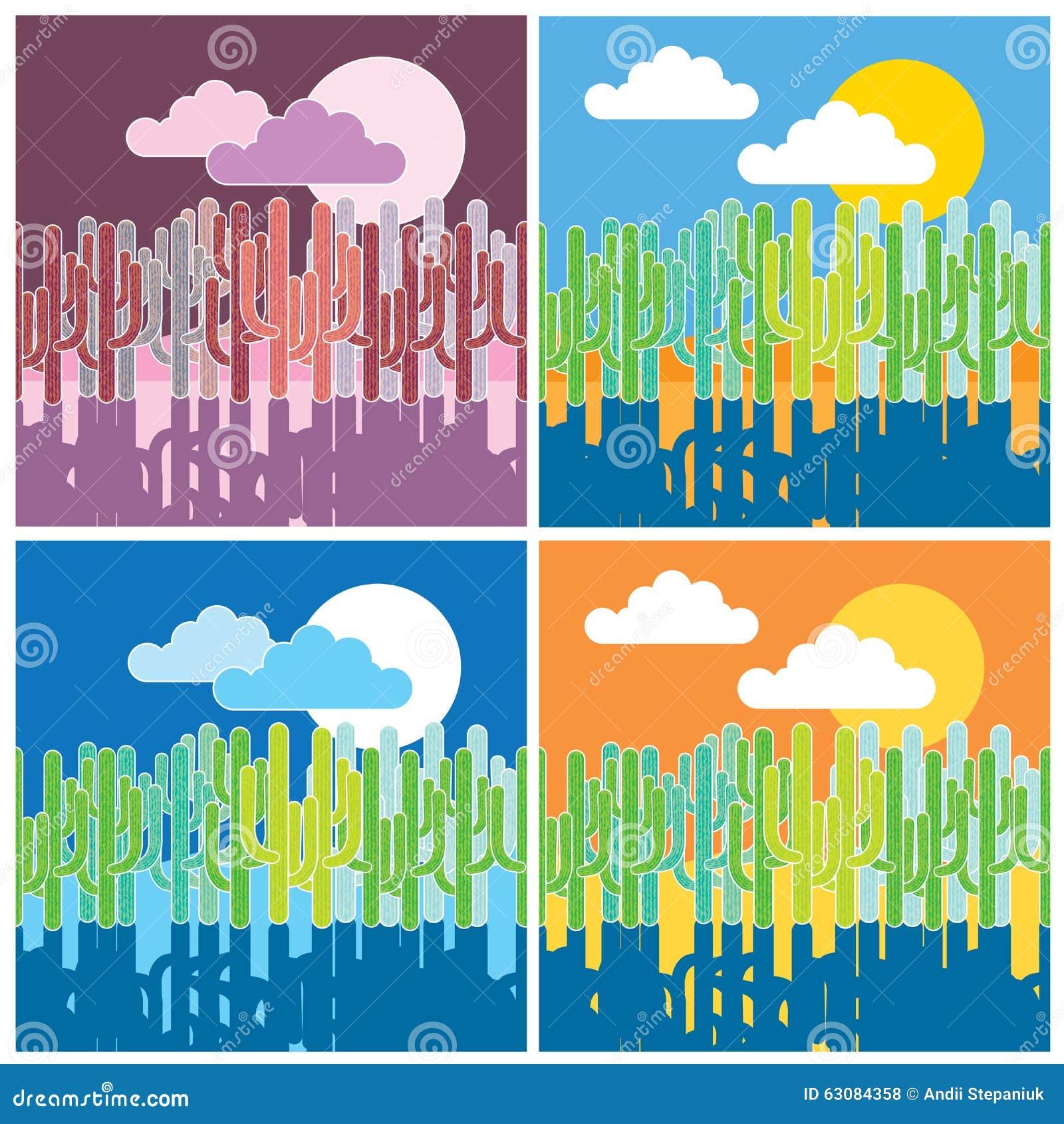 Download Cactus dans le désert illustration de vecteur. Illustration du vecteur - 63084358