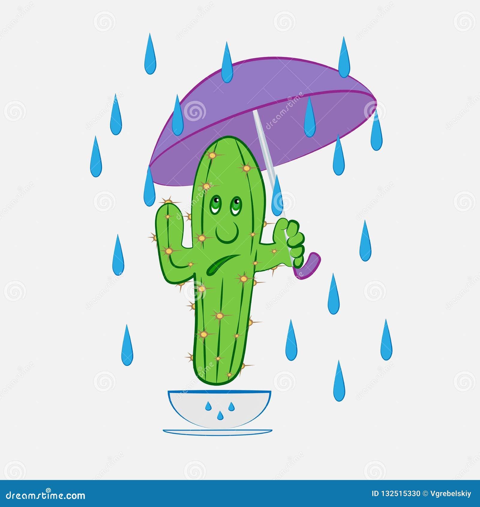 vista previa de zapatillas mejor servicio Cactus debajo del paraguas ilustración del vector ...