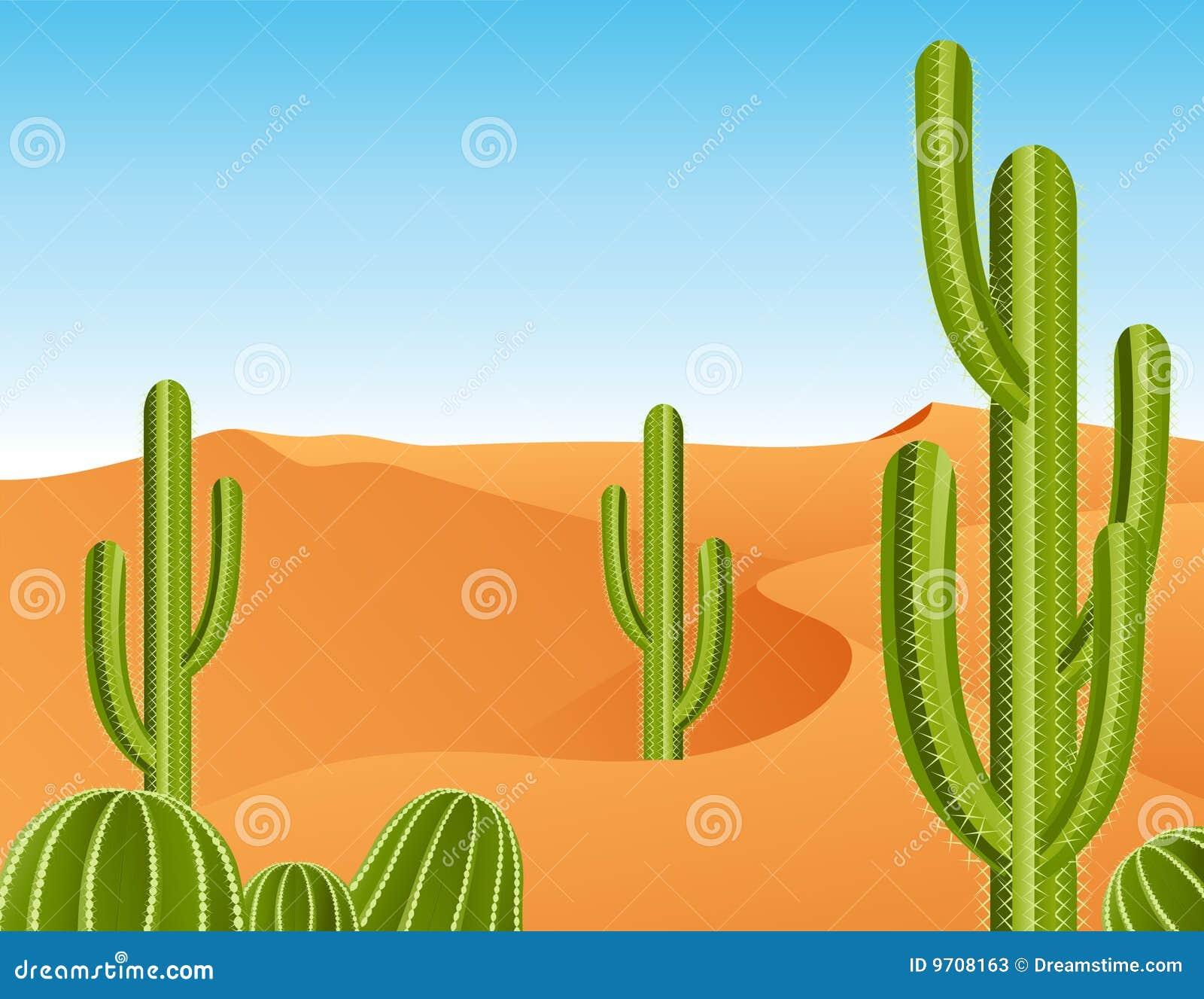Рисунки пустыни с кактусами