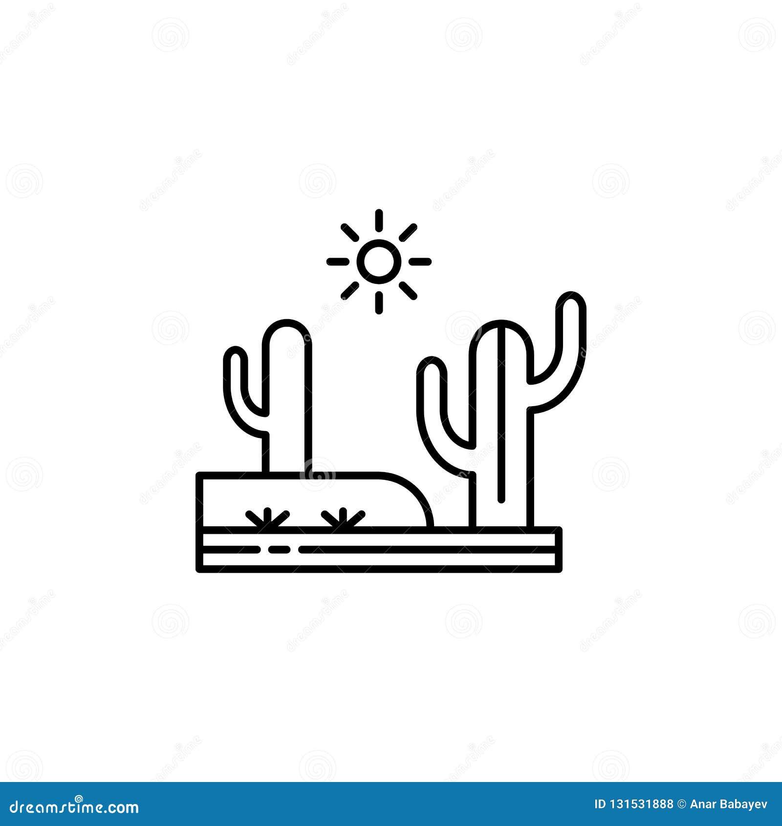 Cactus, desierto, icono caliente, soleado del esquema Elemento del ejemplo de los paisajes Las muestras y los símbolos resumen el