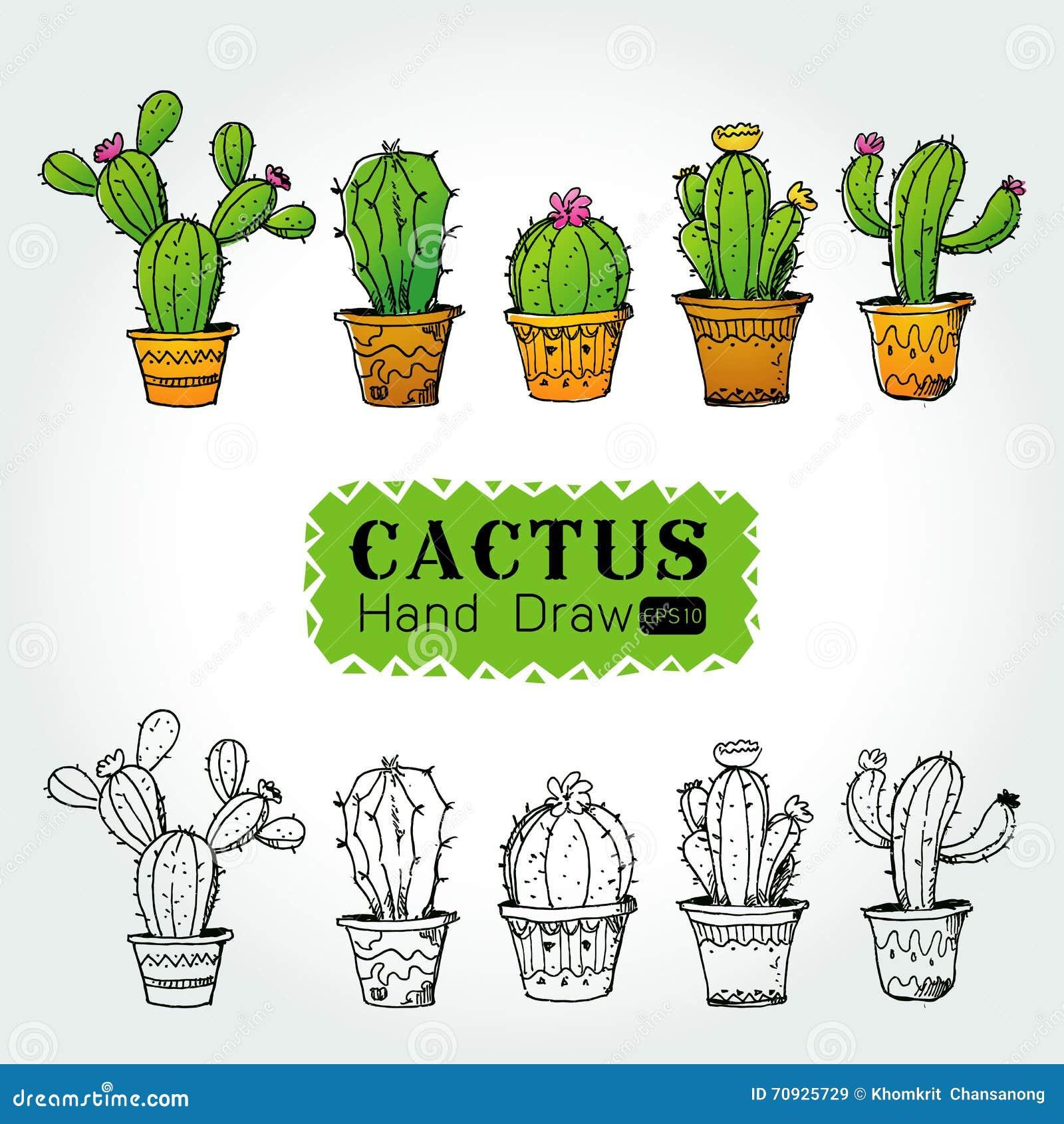 dibujos de cactus en macetas