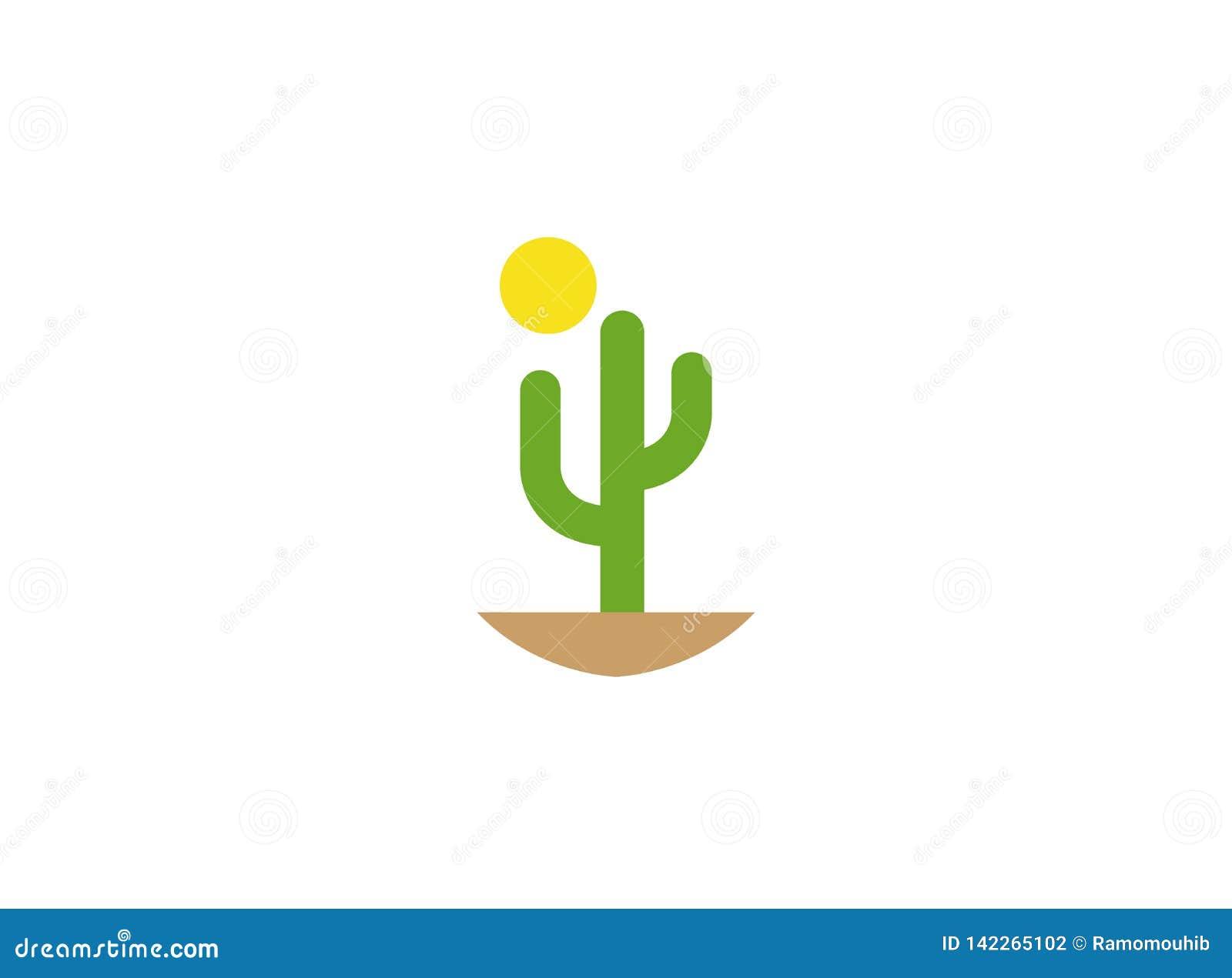 Cactus en zon in woestijn voor embleem