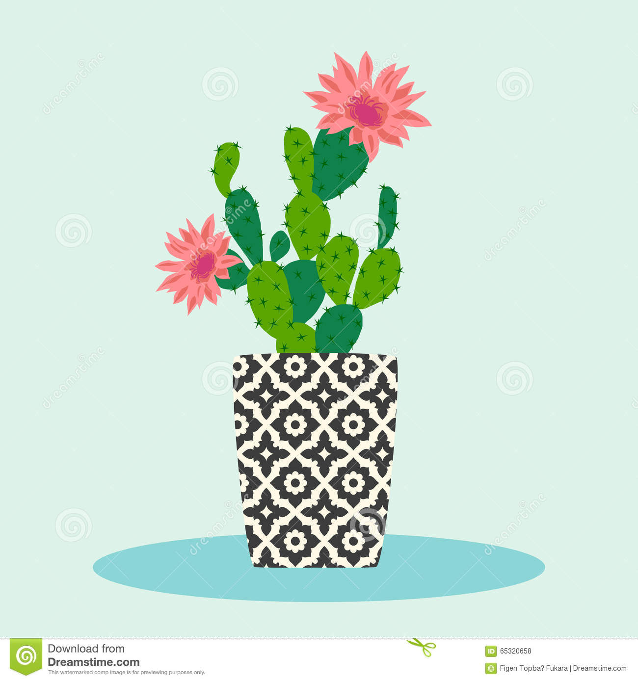 Cactus flower pot stock vector image 65320658 for Design patterns for pot painting