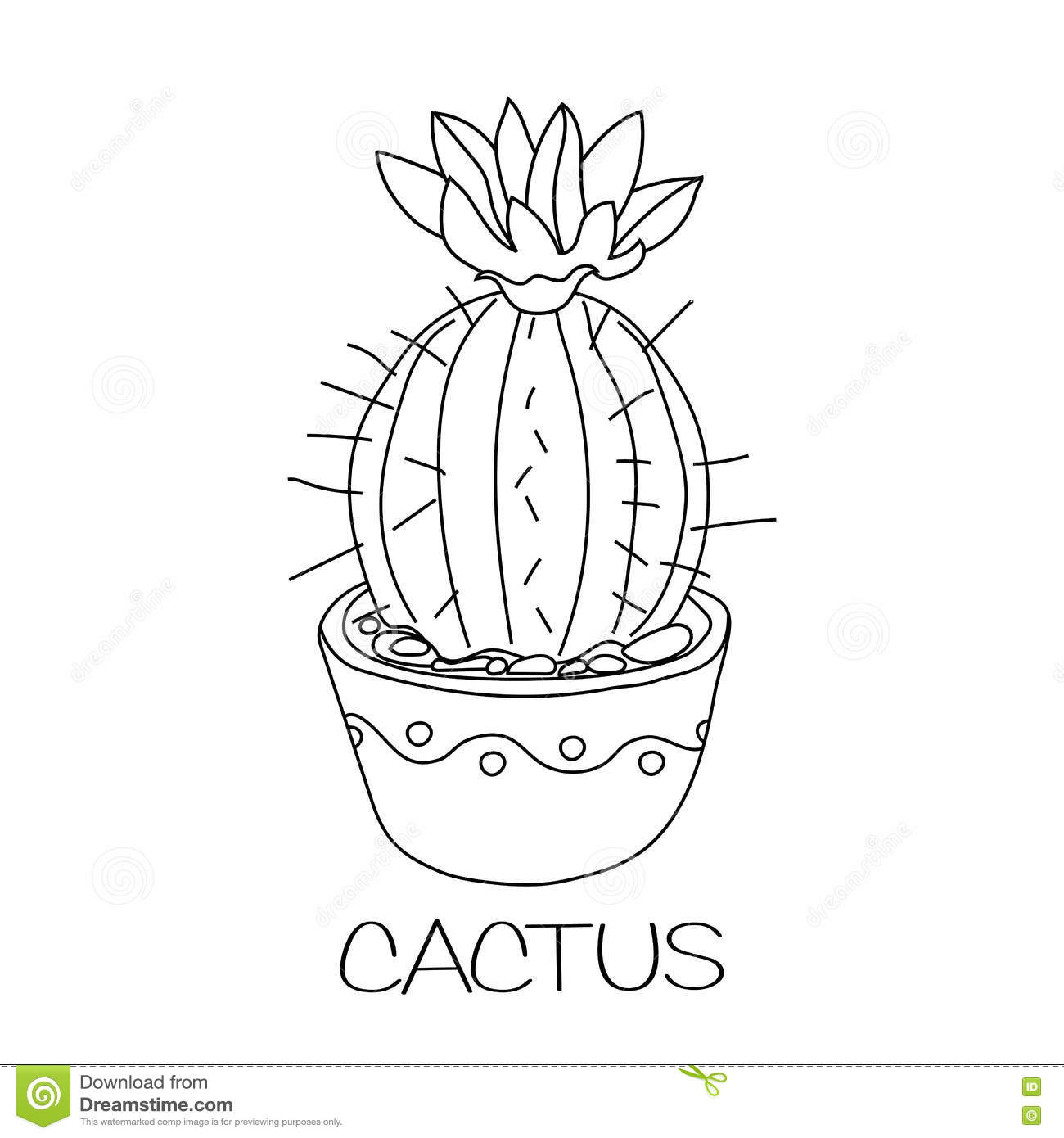 Black and white flower pots - Royalty Free Vector Download Cactus In Flower Pot